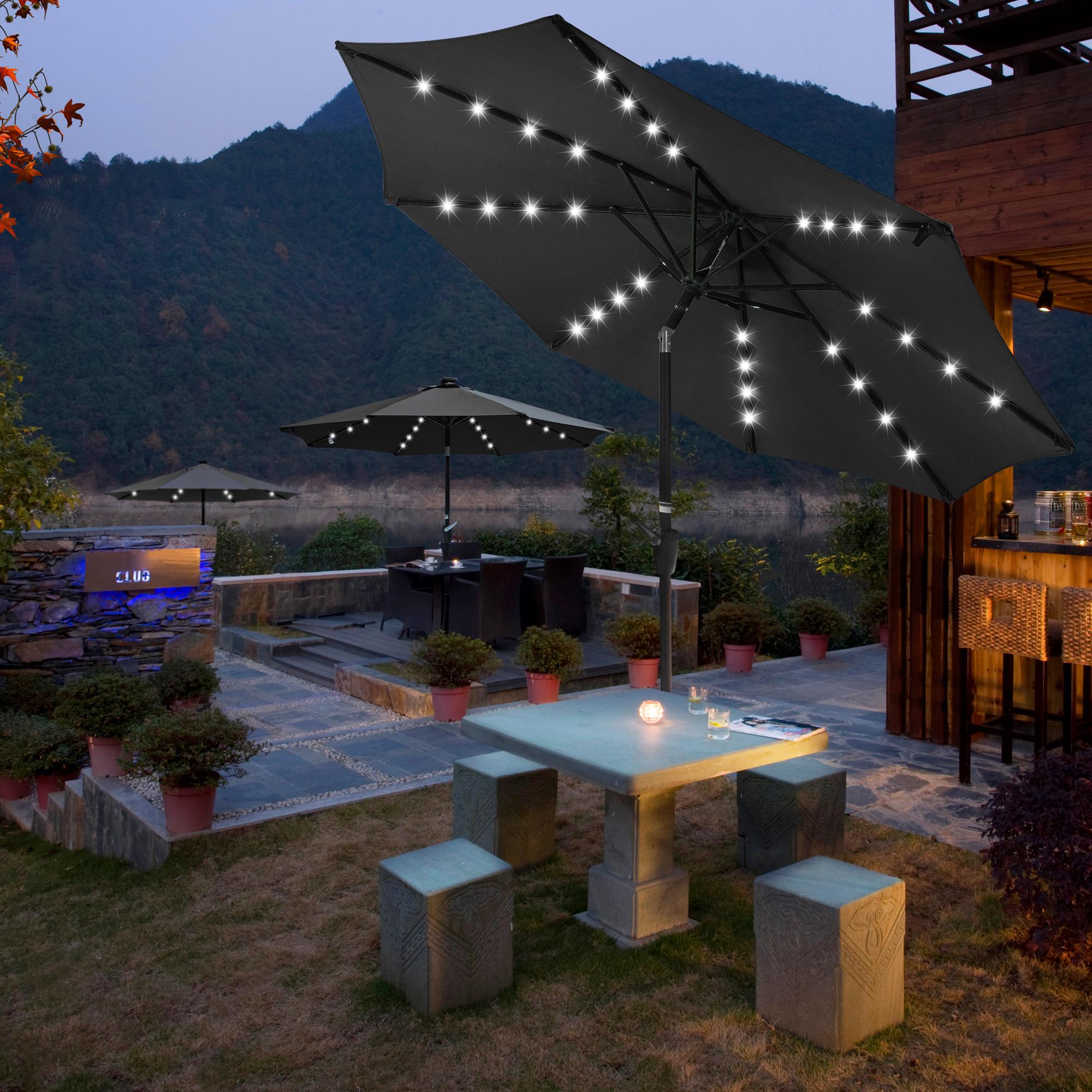 thumbnail 33 - 9' Patio Outdoor Umbrella Solar LED 8 Rib Garden Parasol Yard Deck Table Shade
