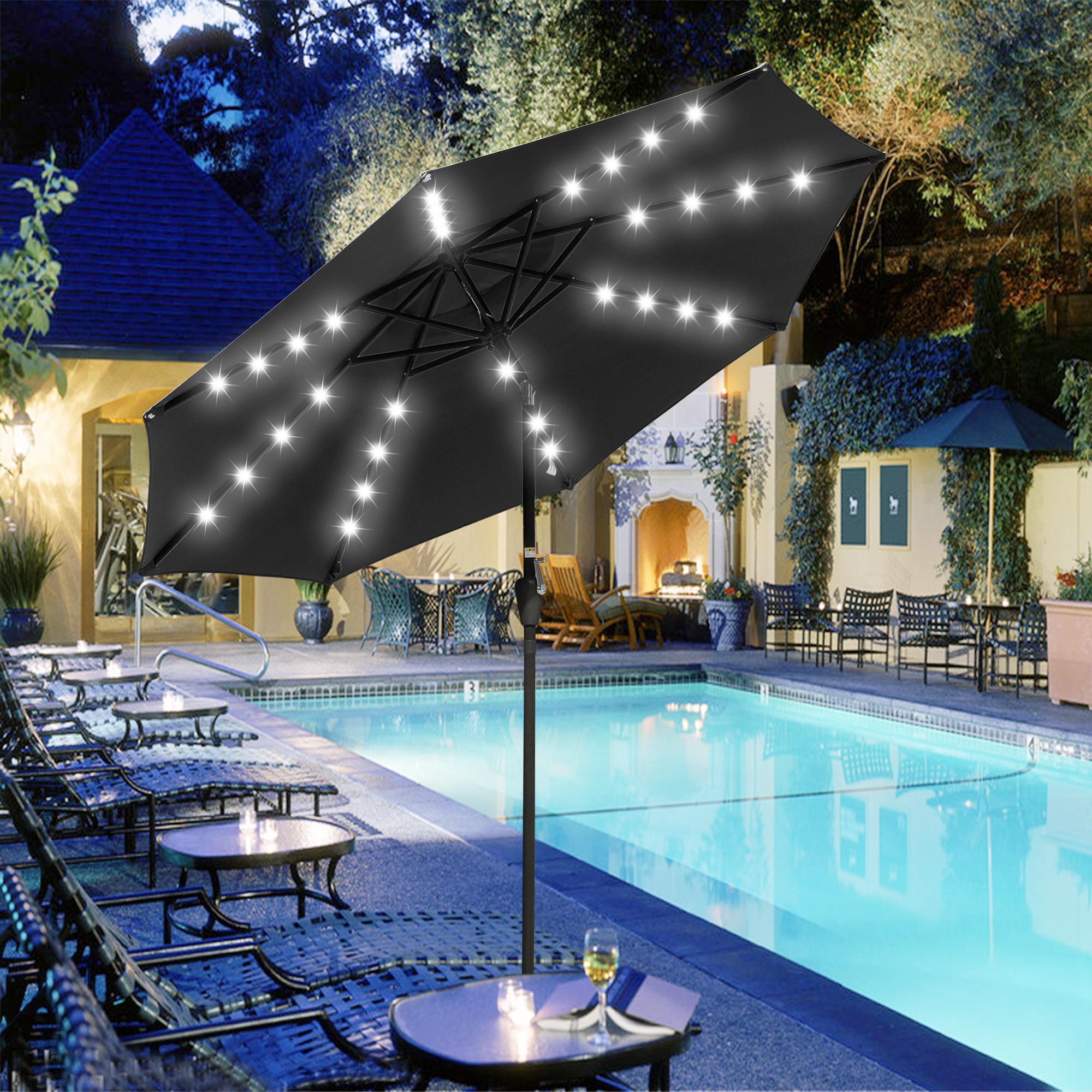 thumbnail 34 - 9' Patio Outdoor Umbrella Solar LED 8 Rib Garden Parasol Yard Deck Table Shade