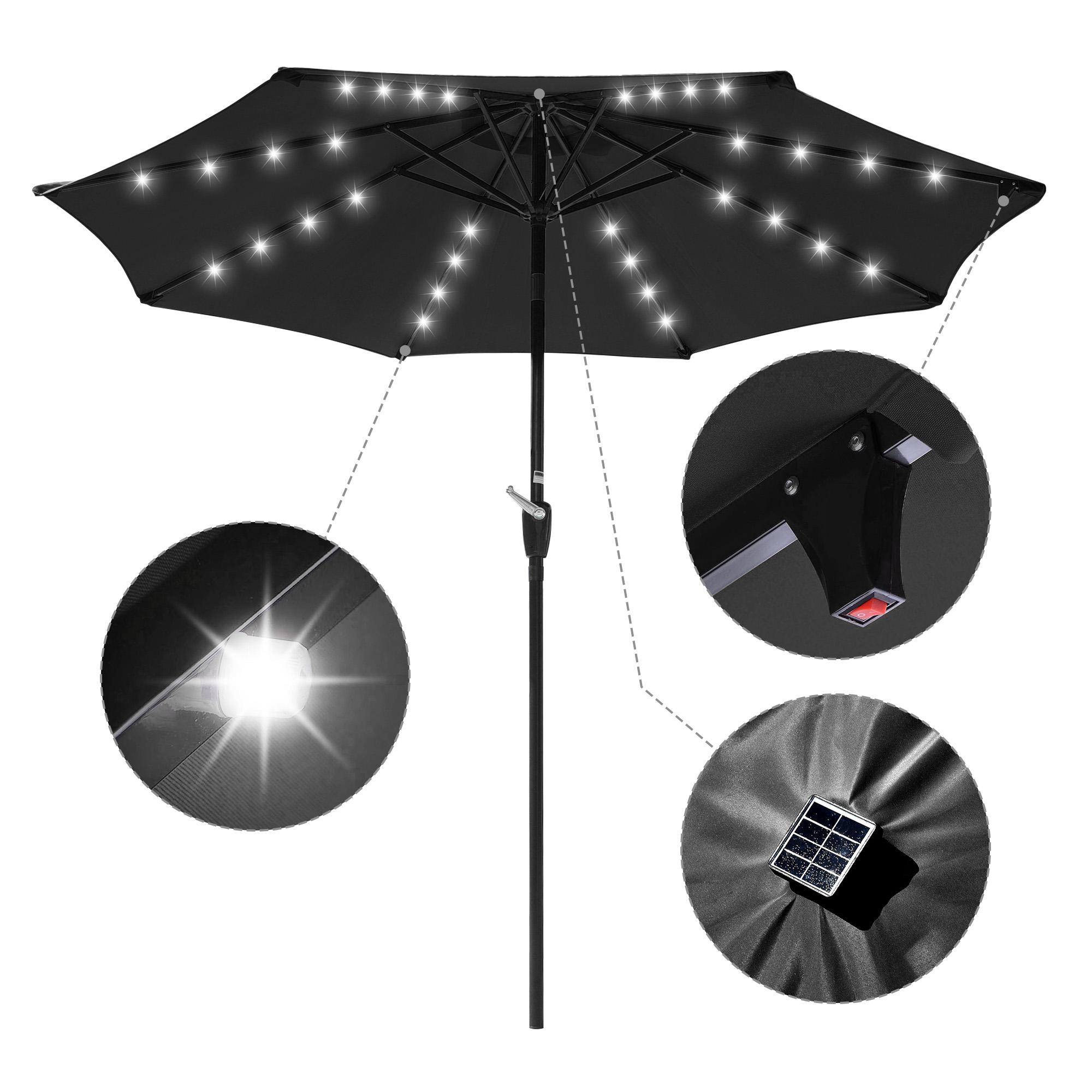 thumbnail 42 - 9' Patio Outdoor Umbrella Solar LED 8 Rib Garden Parasol Yard Deck Table Shade