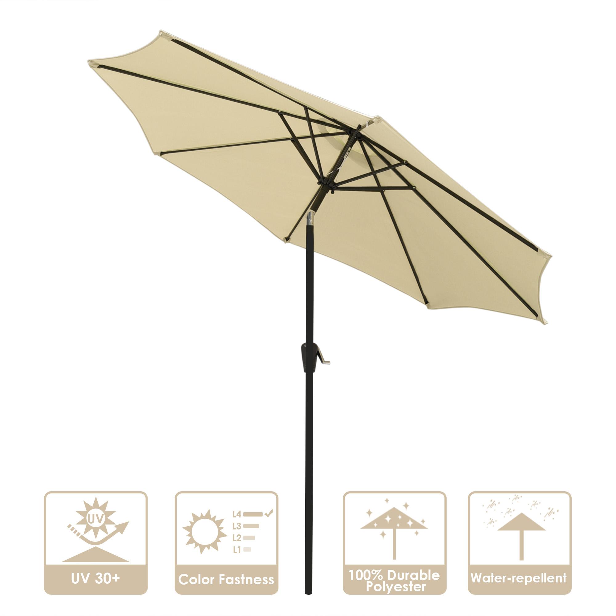 thumbnail 22 - 9' Outdoor Umbrella Patio 8 Ribs Market Garden Crank Tilt Beach Sunshade Parasol