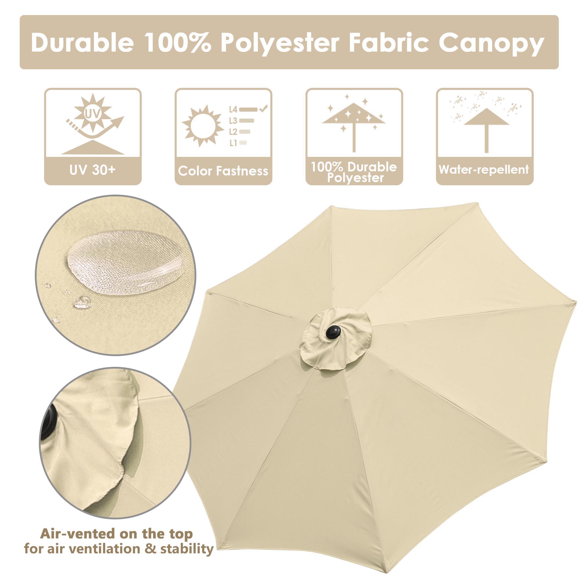 thumbnail 23 - 9' Outdoor Umbrella Patio 8 Ribs Market Garden Crank Tilt Beach Sunshade Parasol