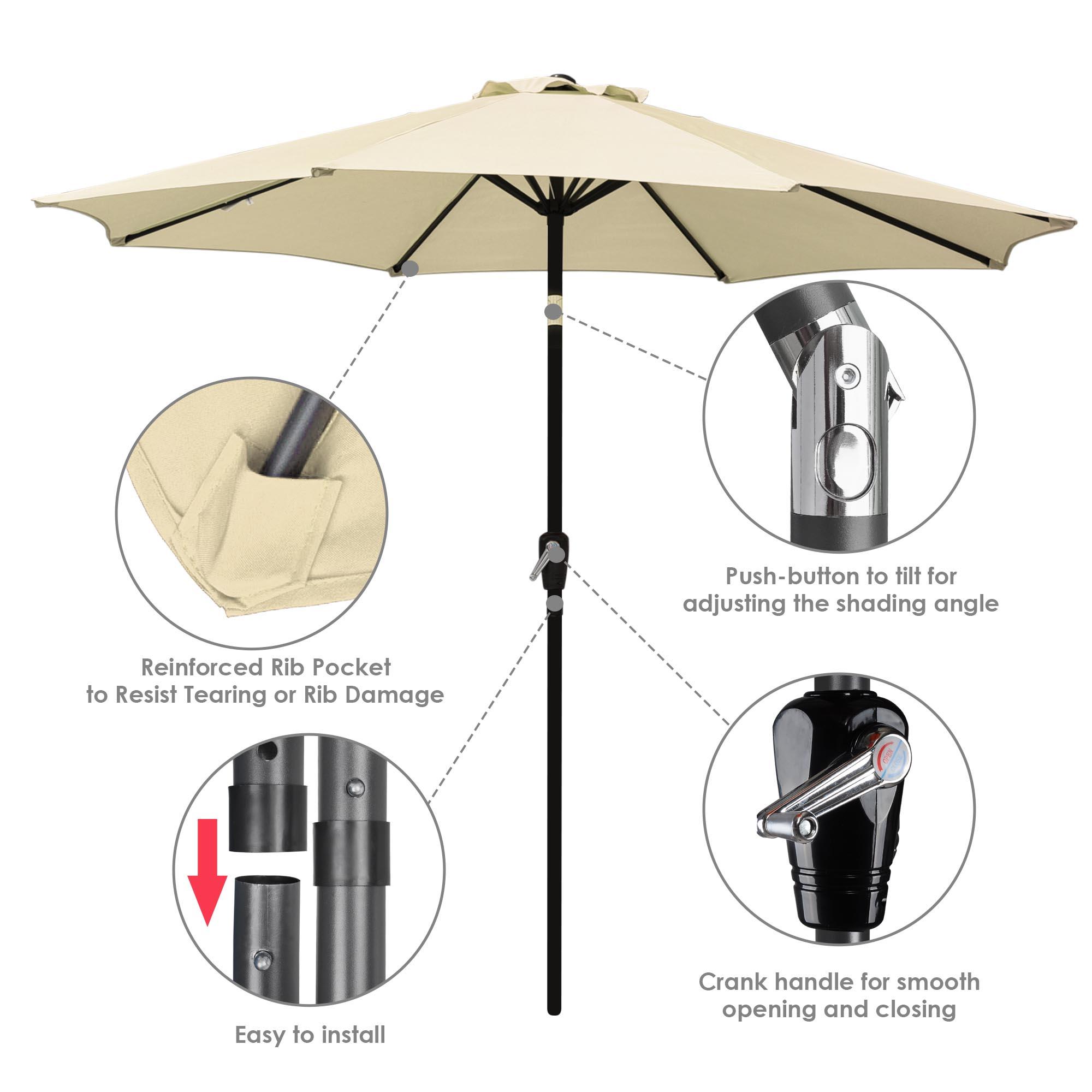 thumbnail 24 - 9' Outdoor Umbrella Patio 8 Ribs Market Garden Crank Tilt Beach Sunshade Parasol