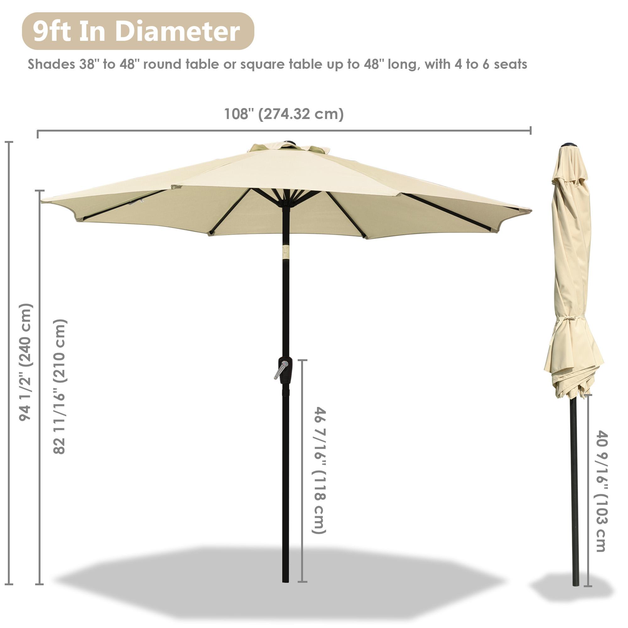 thumbnail 31 - 9' Outdoor Umbrella Patio 8 Ribs Market Garden Crank Tilt Beach Sunshade Parasol
