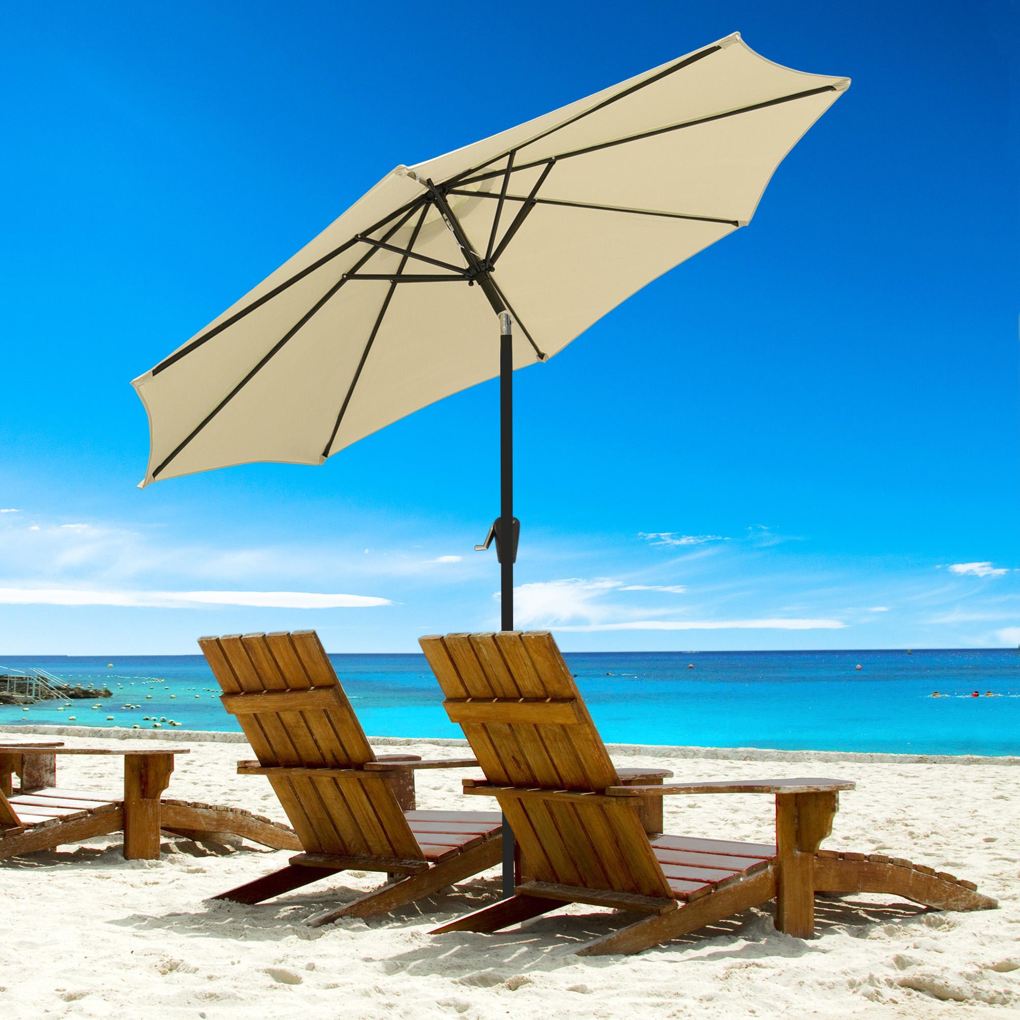 thumbnail 21 - 9' Outdoor Umbrella Patio 8 Ribs Market Garden Crank Tilt Beach Sunshade Parasol