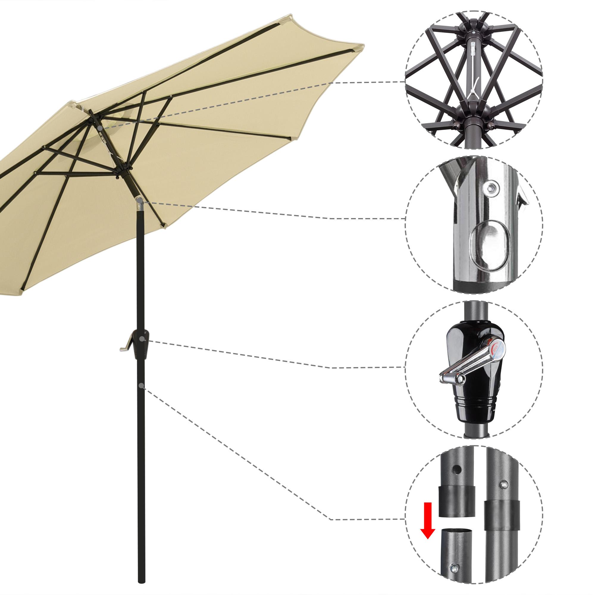 thumbnail 28 - 9' Outdoor Umbrella Patio 8 Ribs Market Garden Crank Tilt Beach Sunshade Parasol