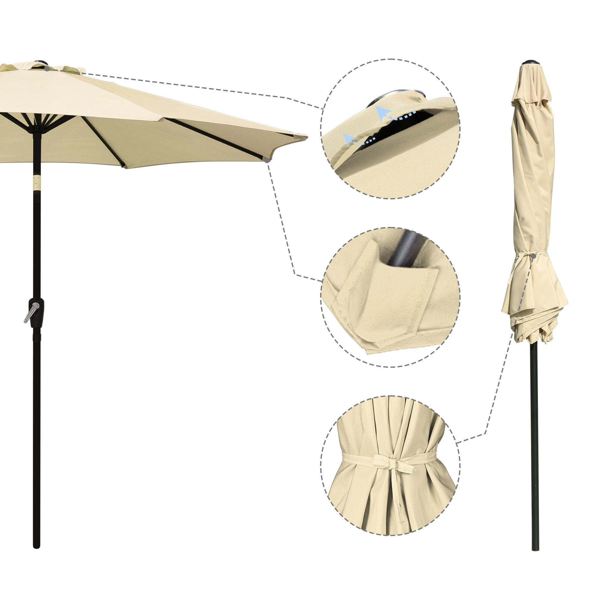 thumbnail 29 - 9' Outdoor Umbrella Patio 8 Ribs Market Garden Crank Tilt Beach Sunshade Parasol