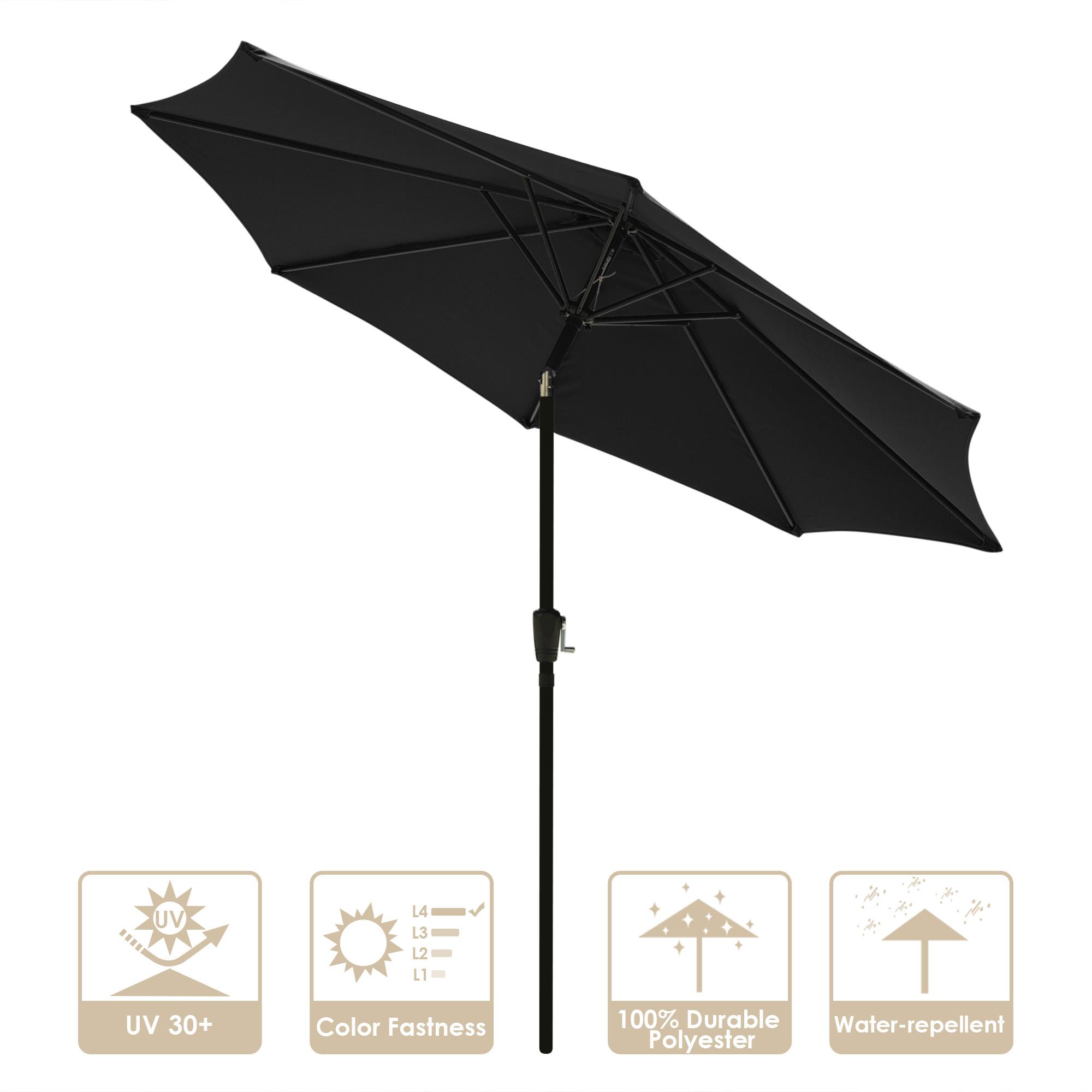 thumbnail 34 - 9' Outdoor Umbrella Patio 8 Ribs Market Garden Crank Tilt Beach Sunshade Parasol