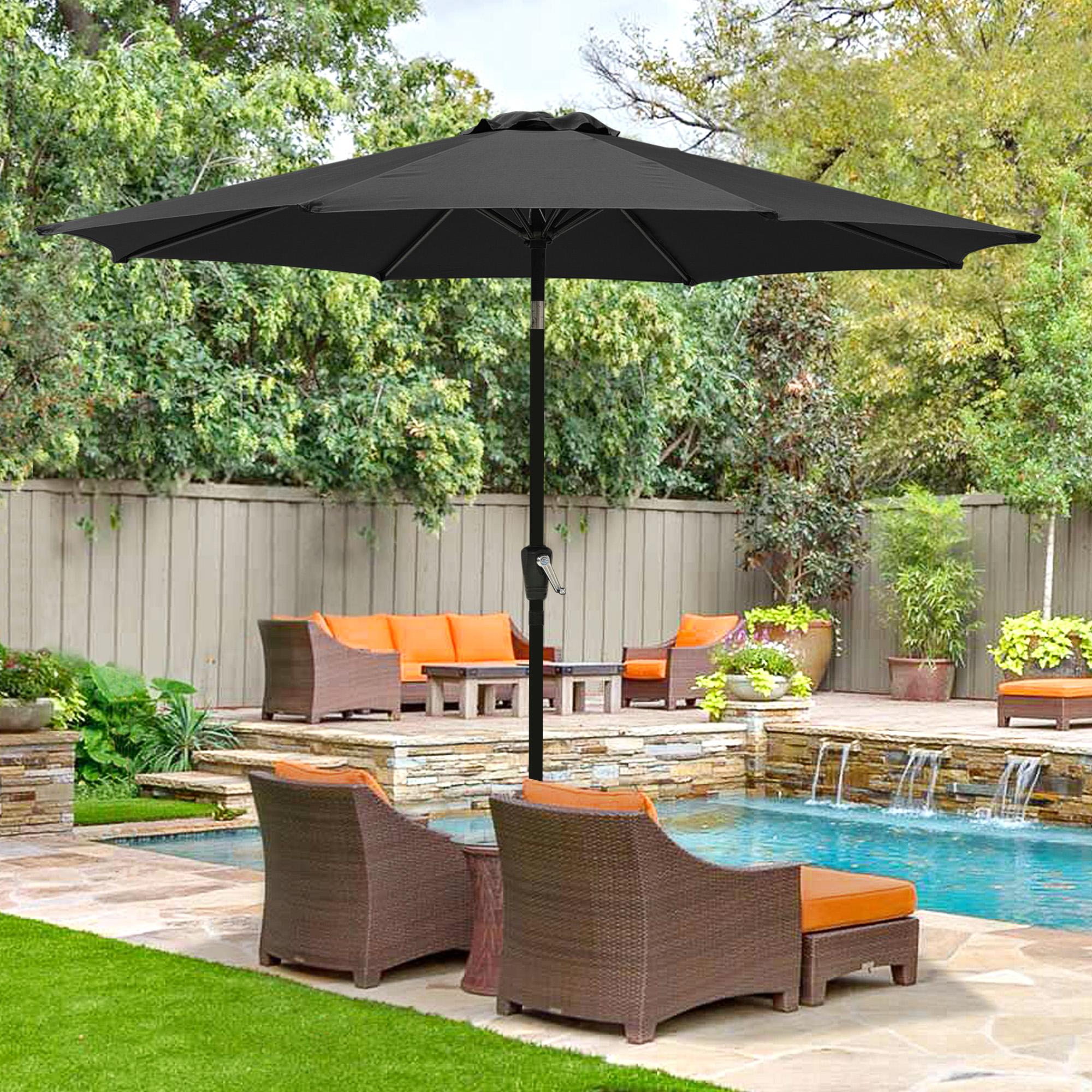 thumbnail 33 - 9' Outdoor Umbrella Patio 8 Ribs Market Garden Crank Tilt Beach Sunshade Parasol