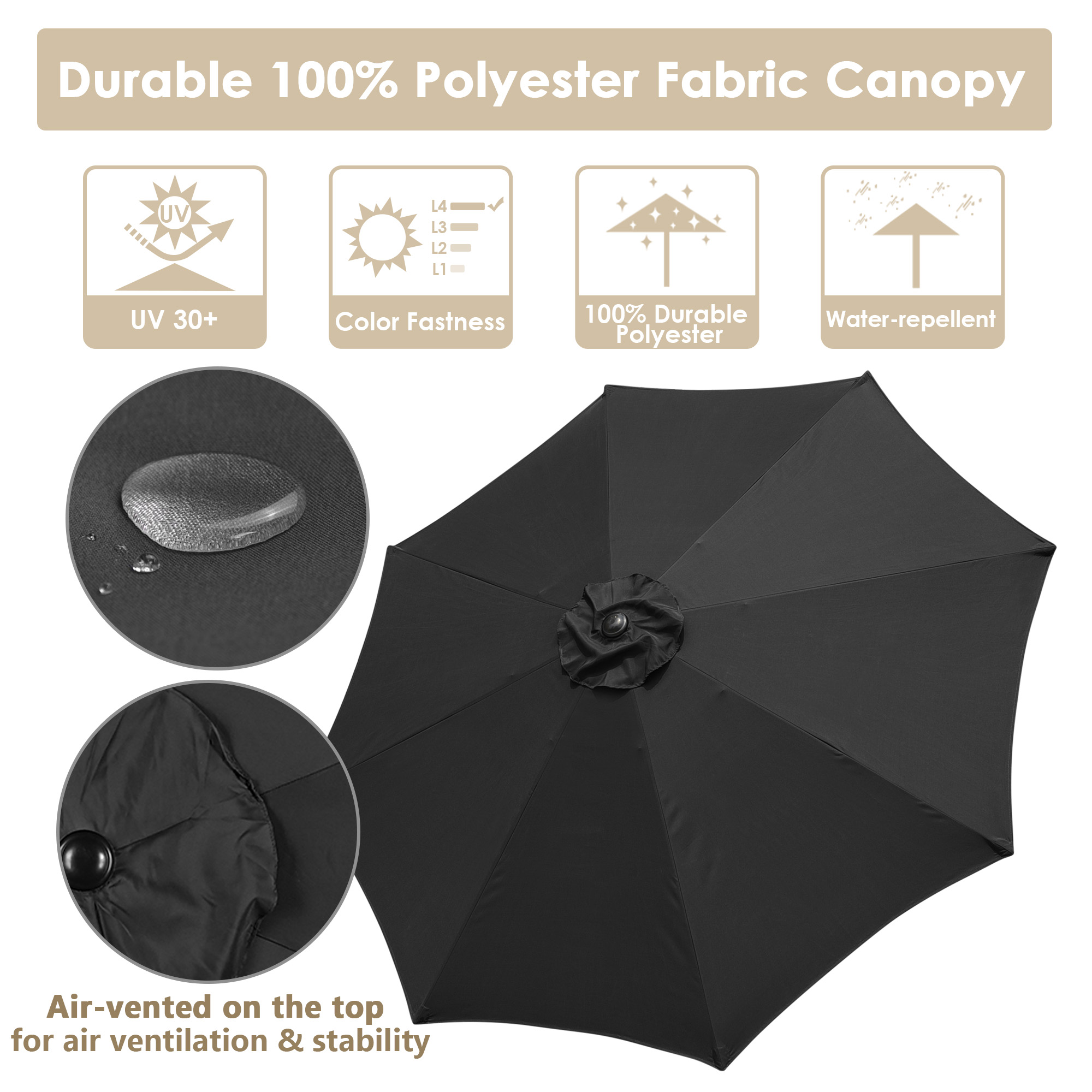 thumbnail 35 - 9' Outdoor Umbrella Patio 8 Ribs Market Garden Crank Tilt Beach Sunshade Parasol