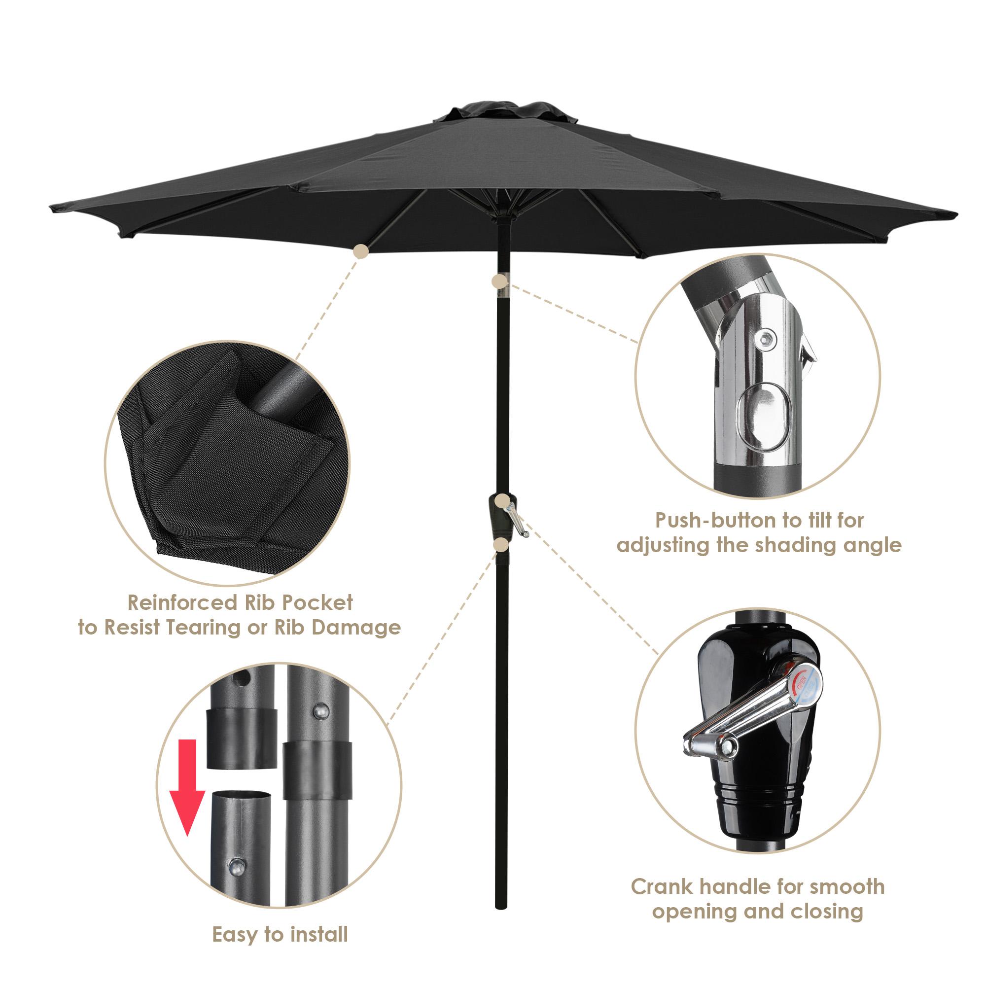 thumbnail 36 - 9' Outdoor Umbrella Patio 8 Ribs Market Garden Crank Tilt Beach Sunshade Parasol