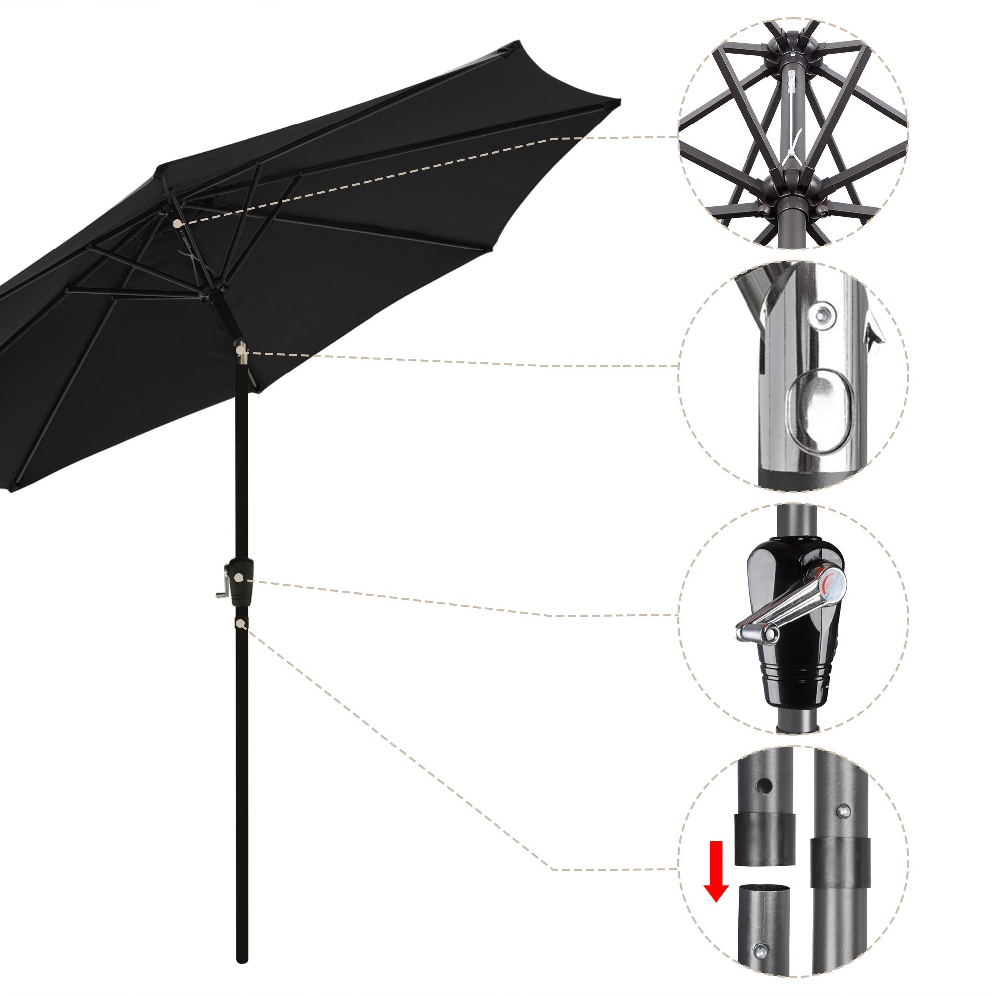 thumbnail 41 - 9' Outdoor Umbrella Patio 8 Ribs Market Garden Crank Tilt Beach Sunshade Parasol