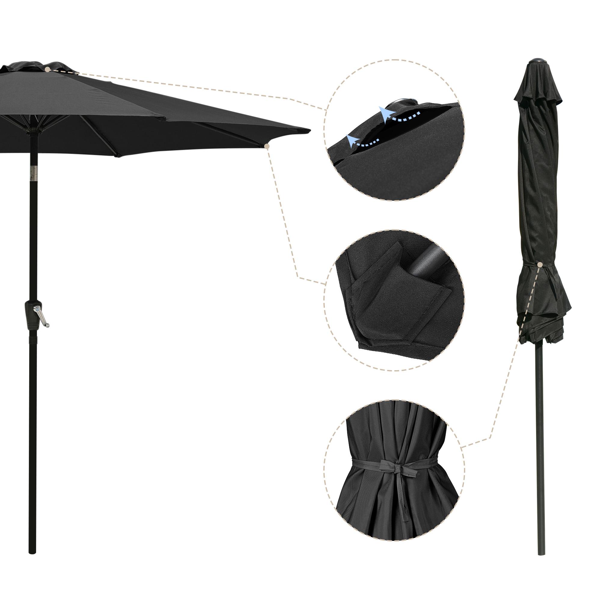thumbnail 42 - 9' Outdoor Umbrella Patio 8 Ribs Market Garden Crank Tilt Beach Sunshade Parasol