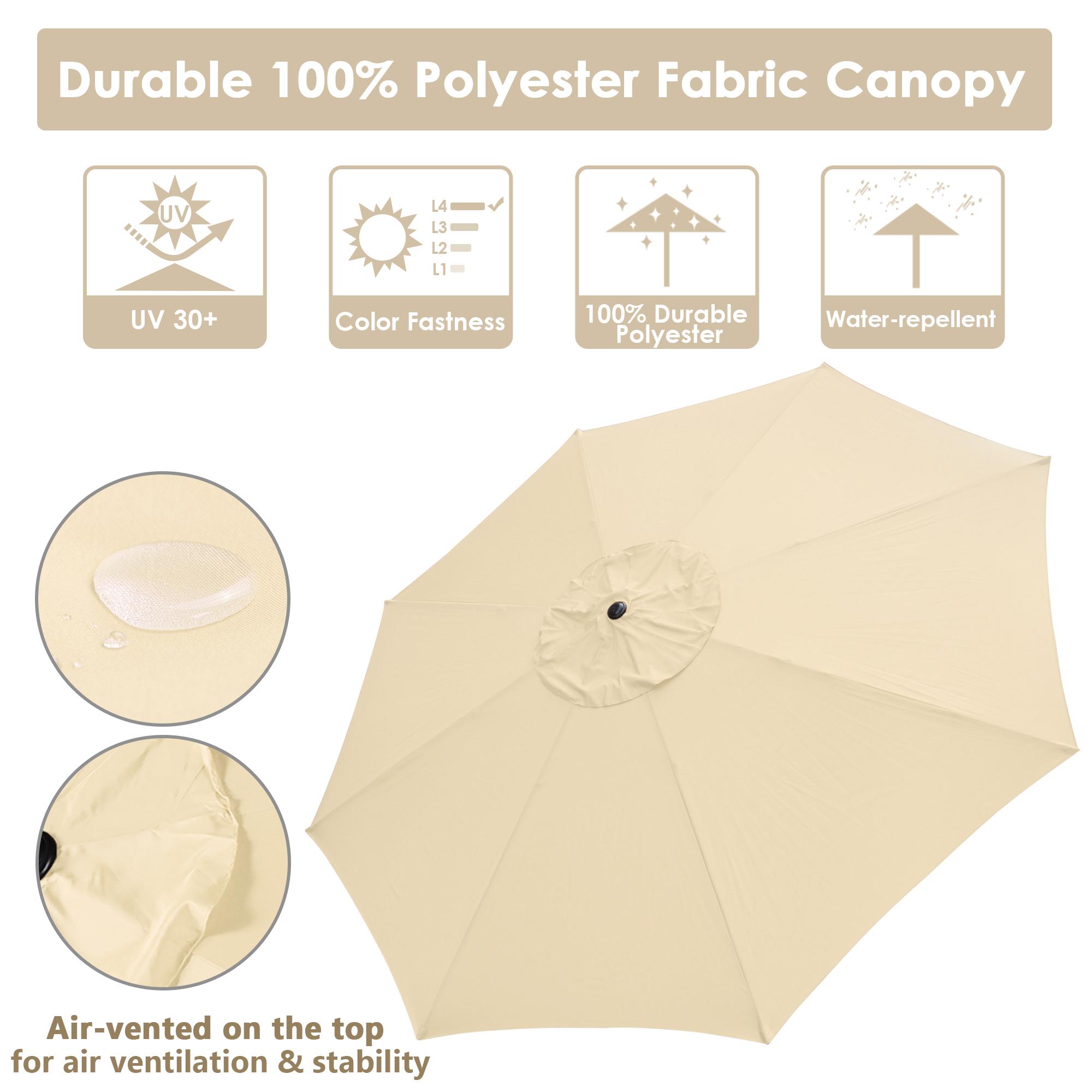 thumbnail 28 - 13' FT Sun Shade Patio Aluminum Umbrella UV30+ Outdoor Market Garden Beach Deck