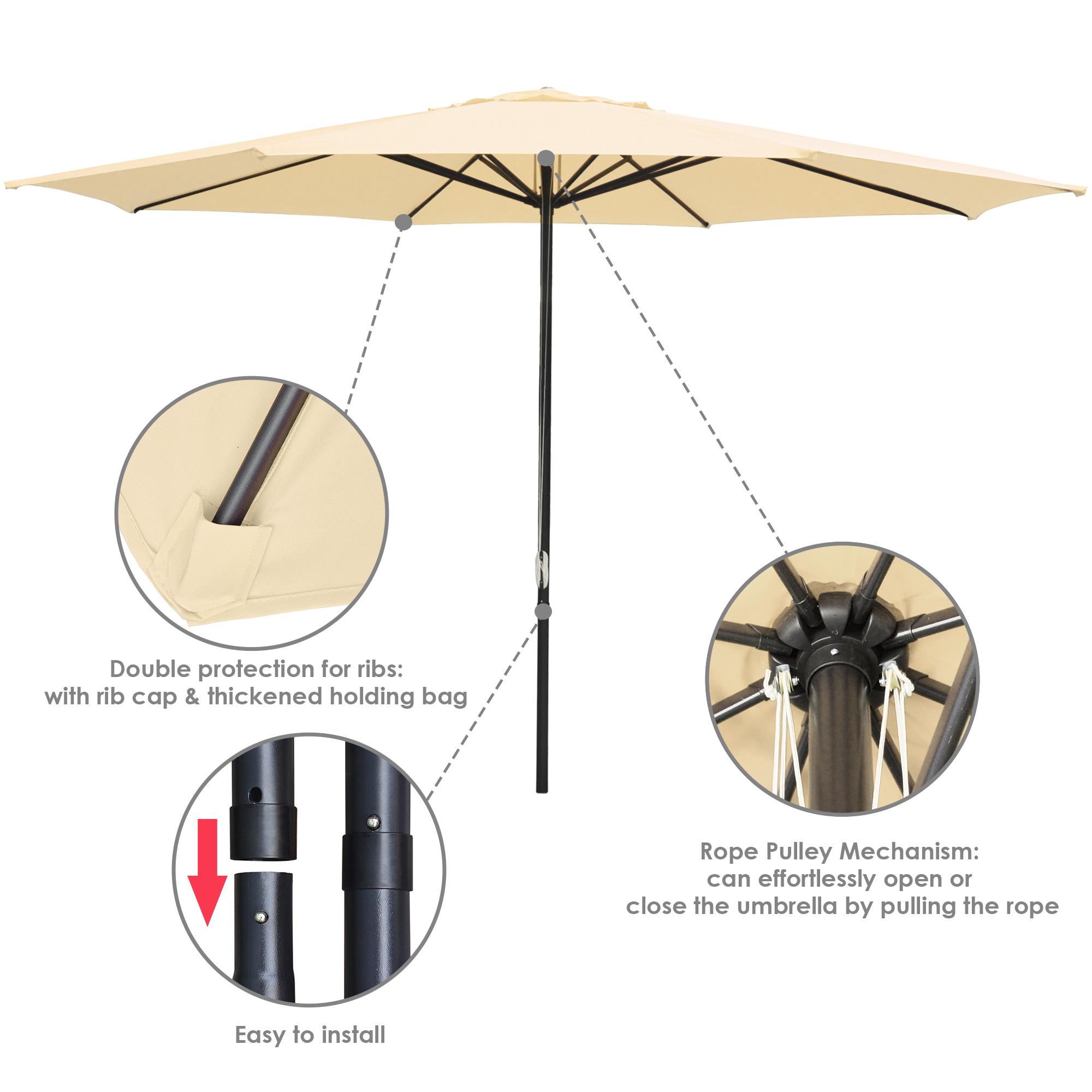 thumbnail 29 - 13' FT Sun Shade Patio Aluminum Umbrella UV30+ Outdoor Market Garden Beach Deck