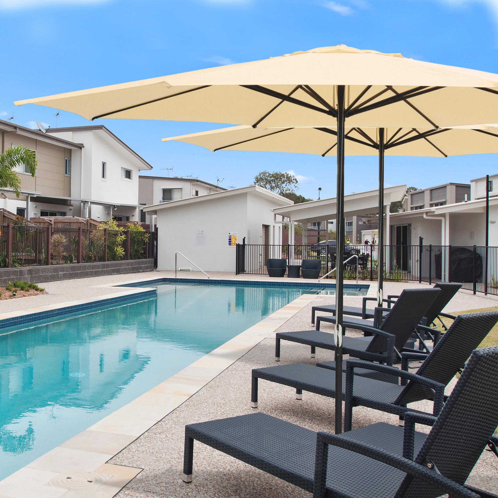 thumbnail 26 - 13' FT Sun Shade Patio Aluminum Umbrella UV30+ Outdoor Market Garden Beach Deck