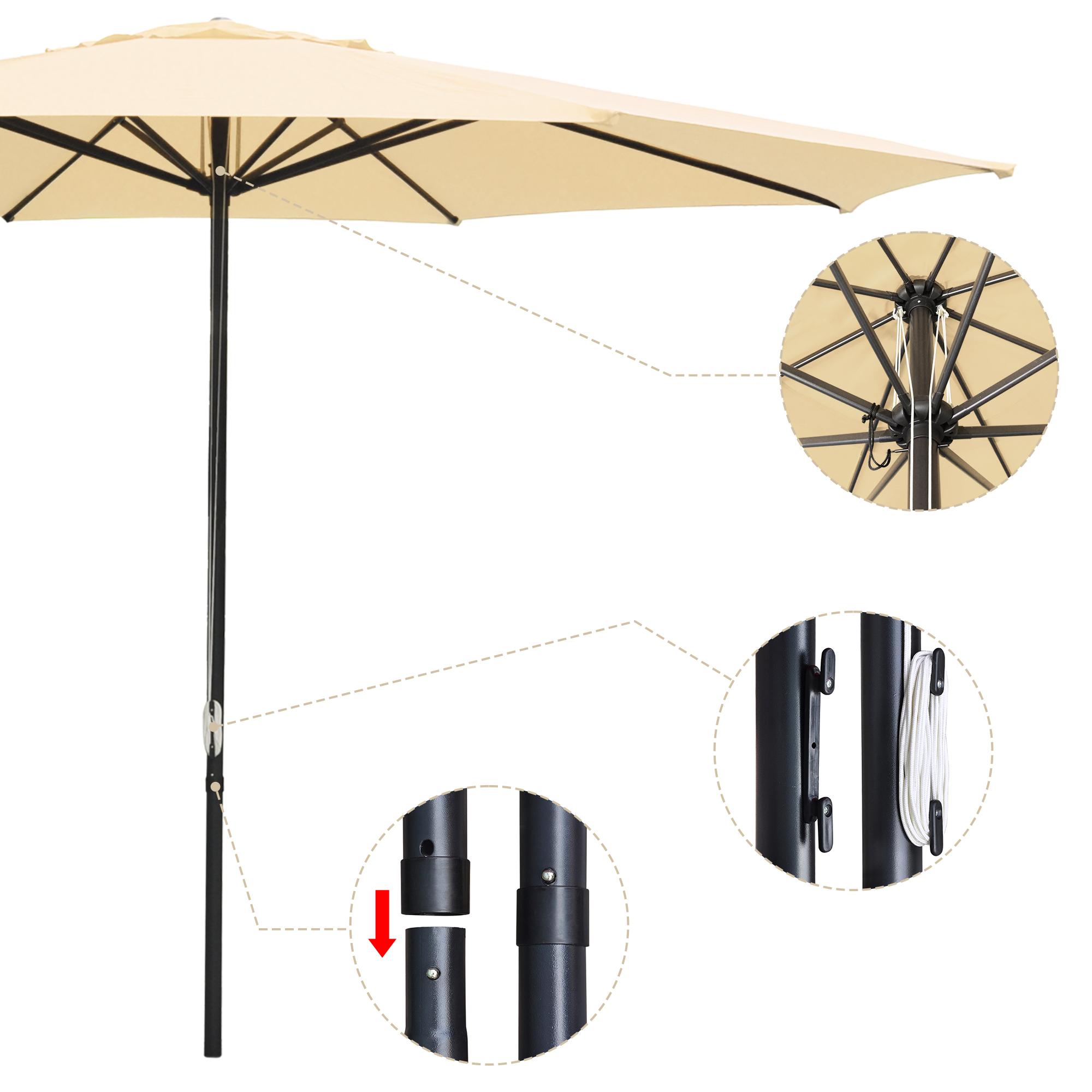 thumbnail 34 - 13' FT Sun Shade Patio Aluminum Umbrella UV30+ Outdoor Market Garden Beach Deck