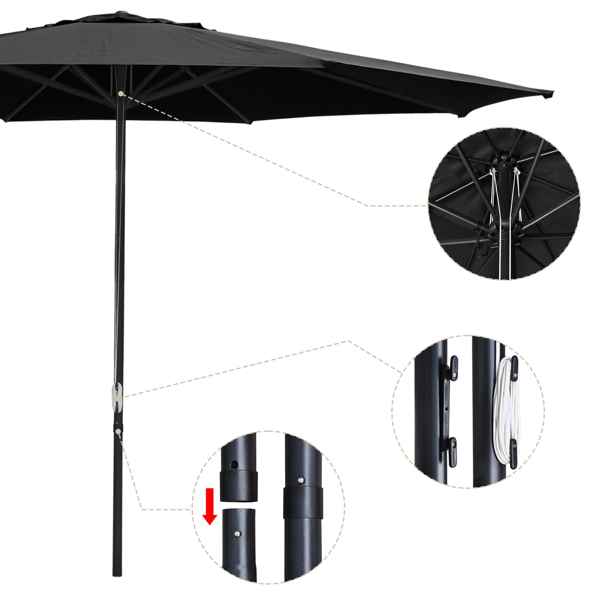 thumbnail 46 - 13' FT Sun Shade Patio Aluminum Umbrella UV30+ Outdoor Market Garden Beach Deck