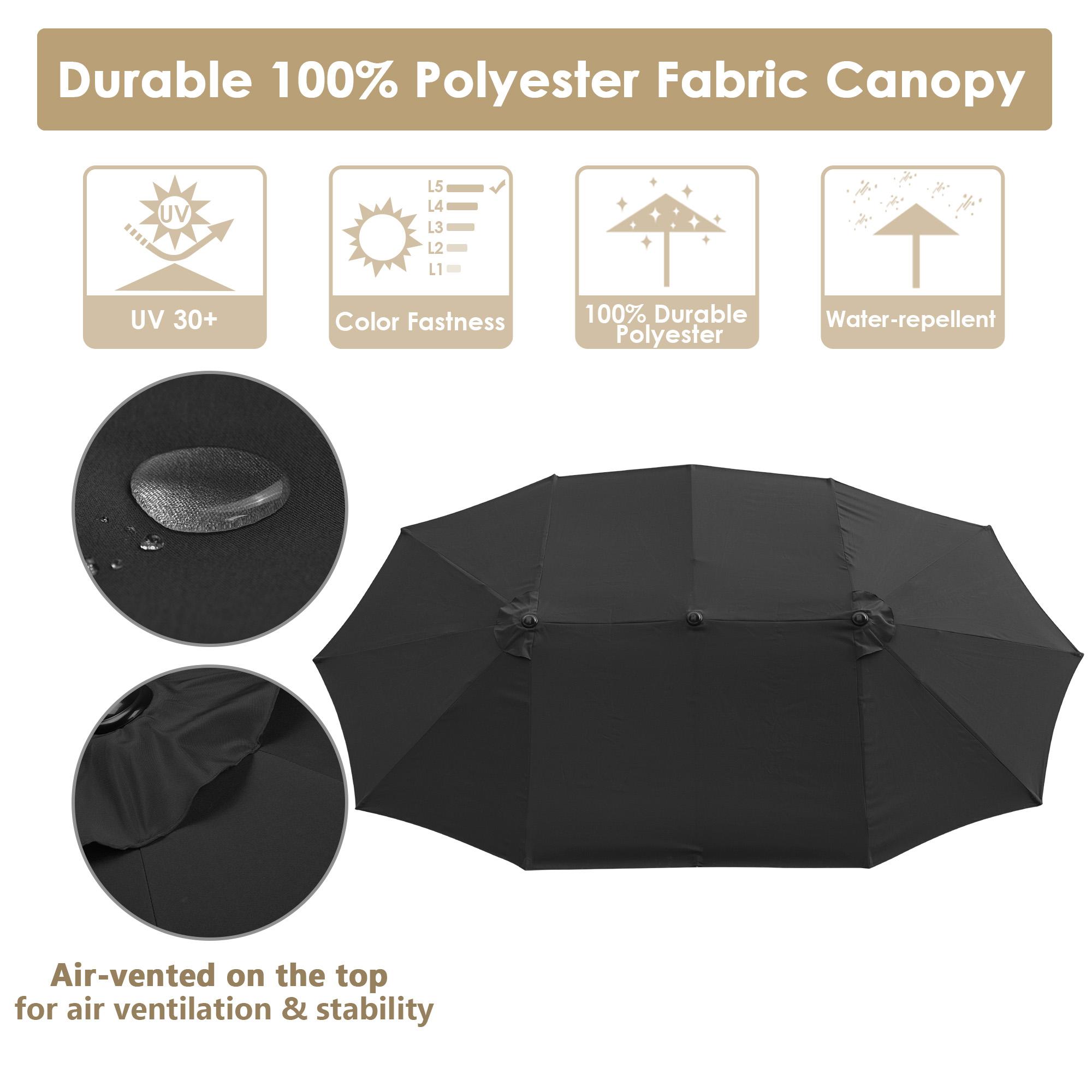 thumbnail 19 - 15ft Patio Twin Umbrella Double-sided Market Crank Outdoor Garden Parasol Shade