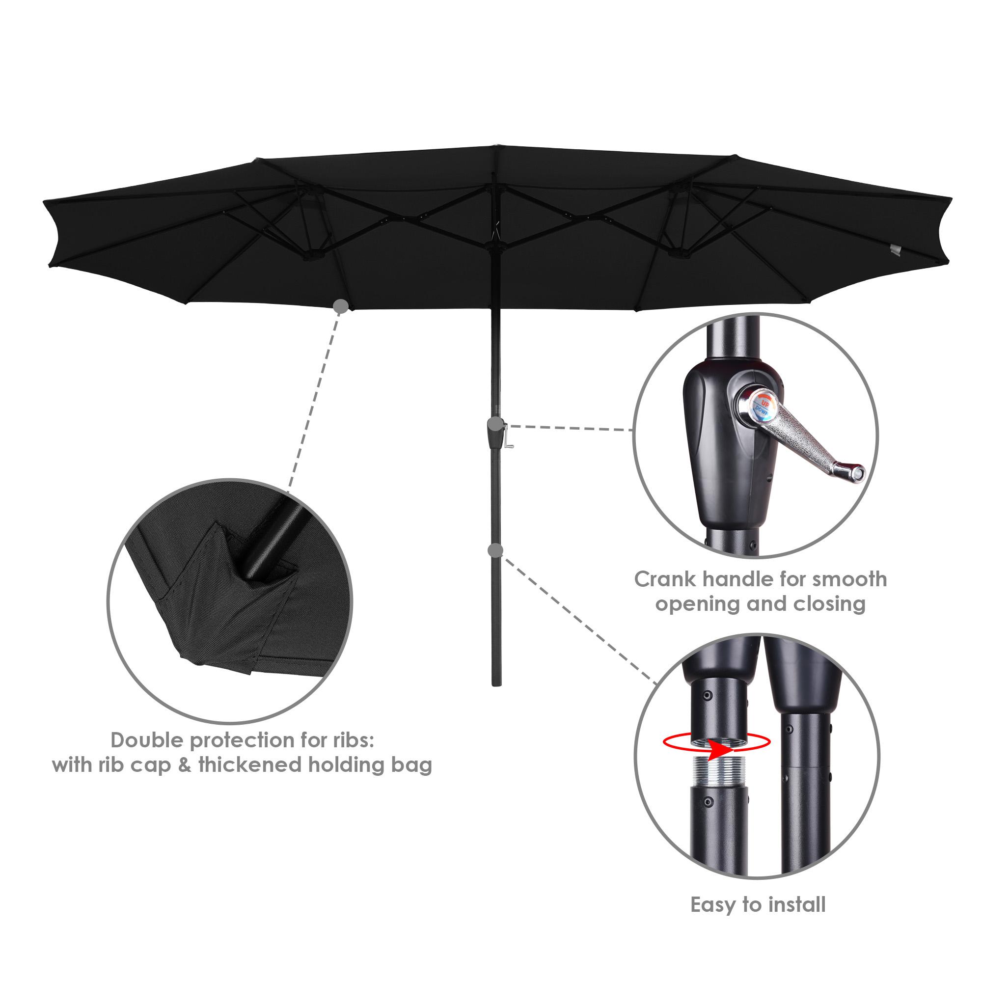 thumbnail 20 - 15ft Patio Twin Umbrella Double-sided Market Crank Outdoor Garden Parasol Shade