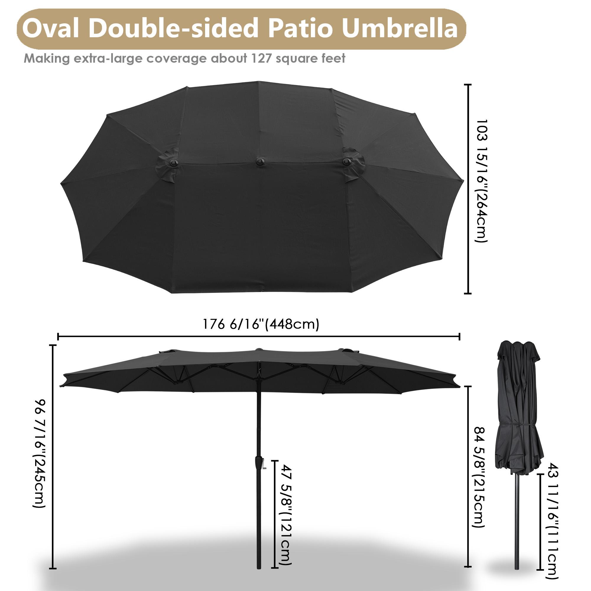 thumbnail 18 - 15ft Patio Twin Umbrella Double-sided Market Crank Outdoor Garden Parasol Shade