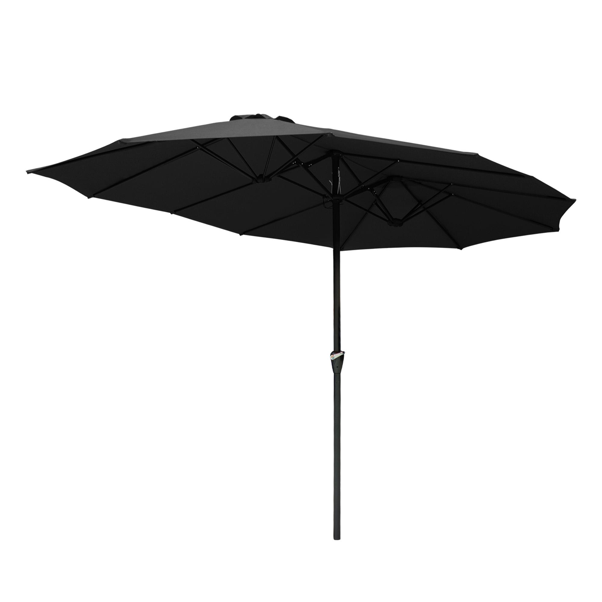 thumbnail 23 - 15ft Patio Twin Umbrella Double-sided Market Crank Outdoor Garden Parasol Shade