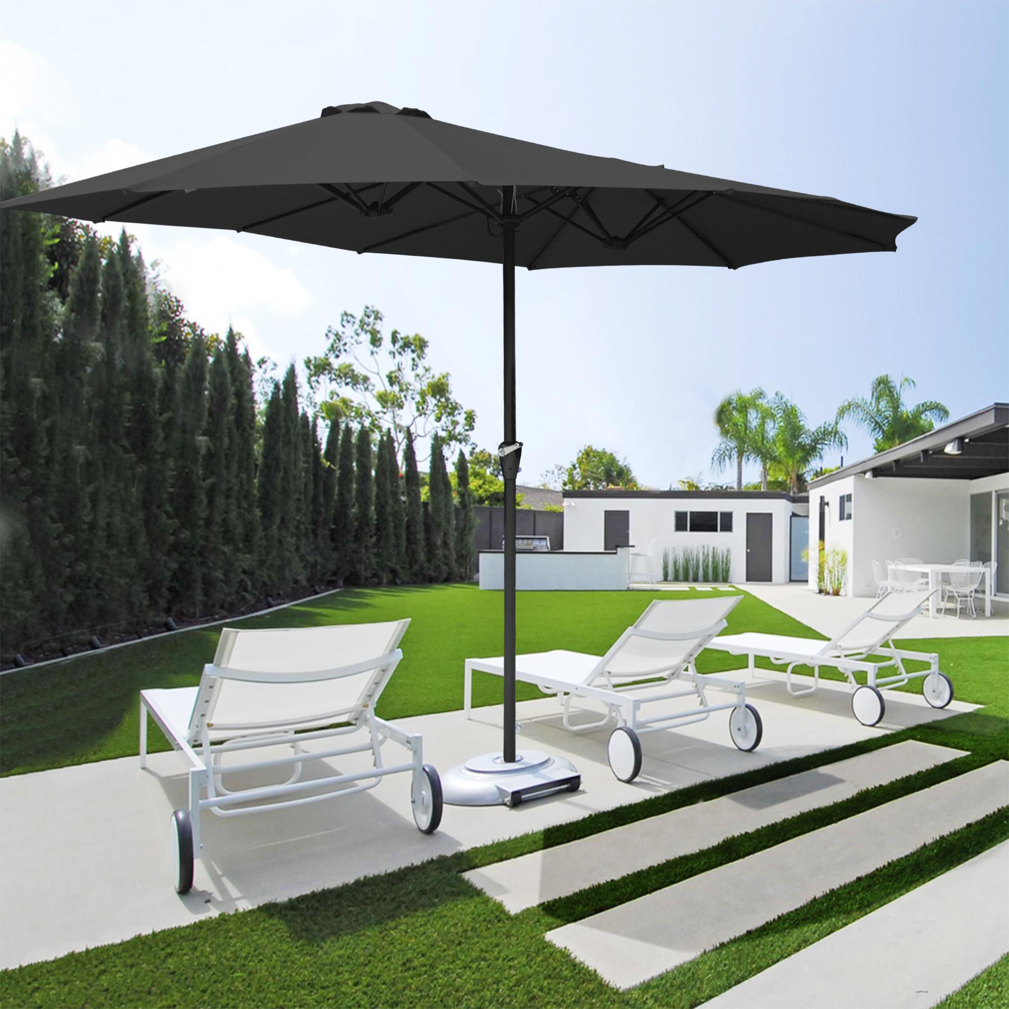 thumbnail 15 - 15ft Patio Twin Umbrella Double-sided Market Crank Outdoor Garden Parasol Shade