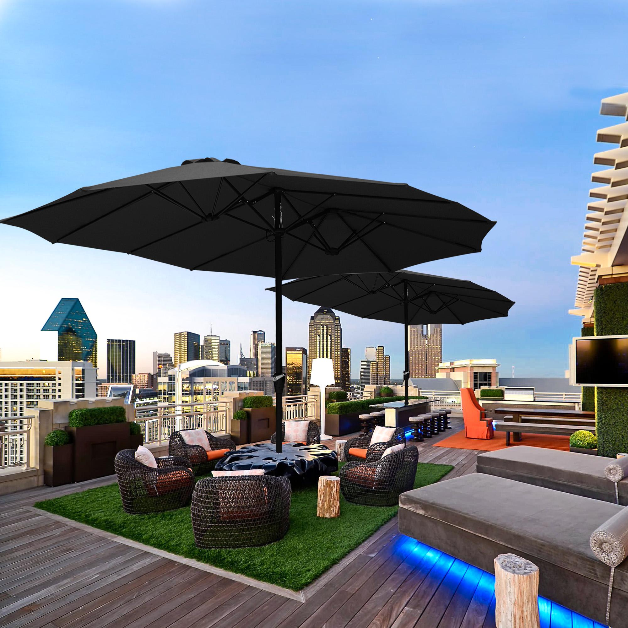 thumbnail 17 - 15ft Patio Twin Umbrella Double-sided Market Crank Outdoor Garden Parasol Shade