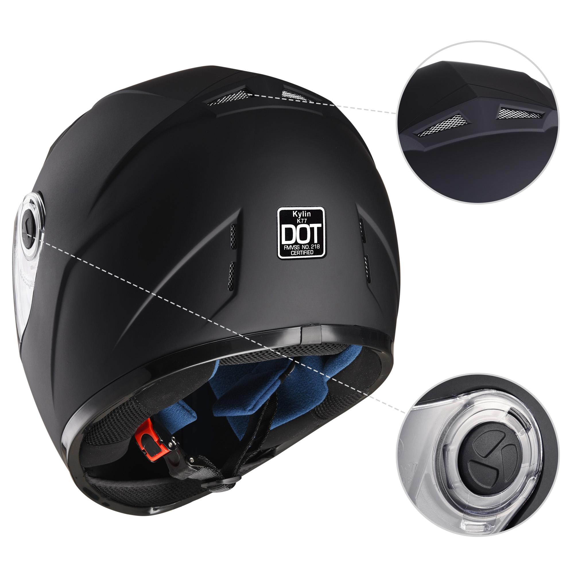 miniature 28 - AHR K12 Full Face Motorcycle Helmet DOT Air Vents Clear Visor Racing S M L XL