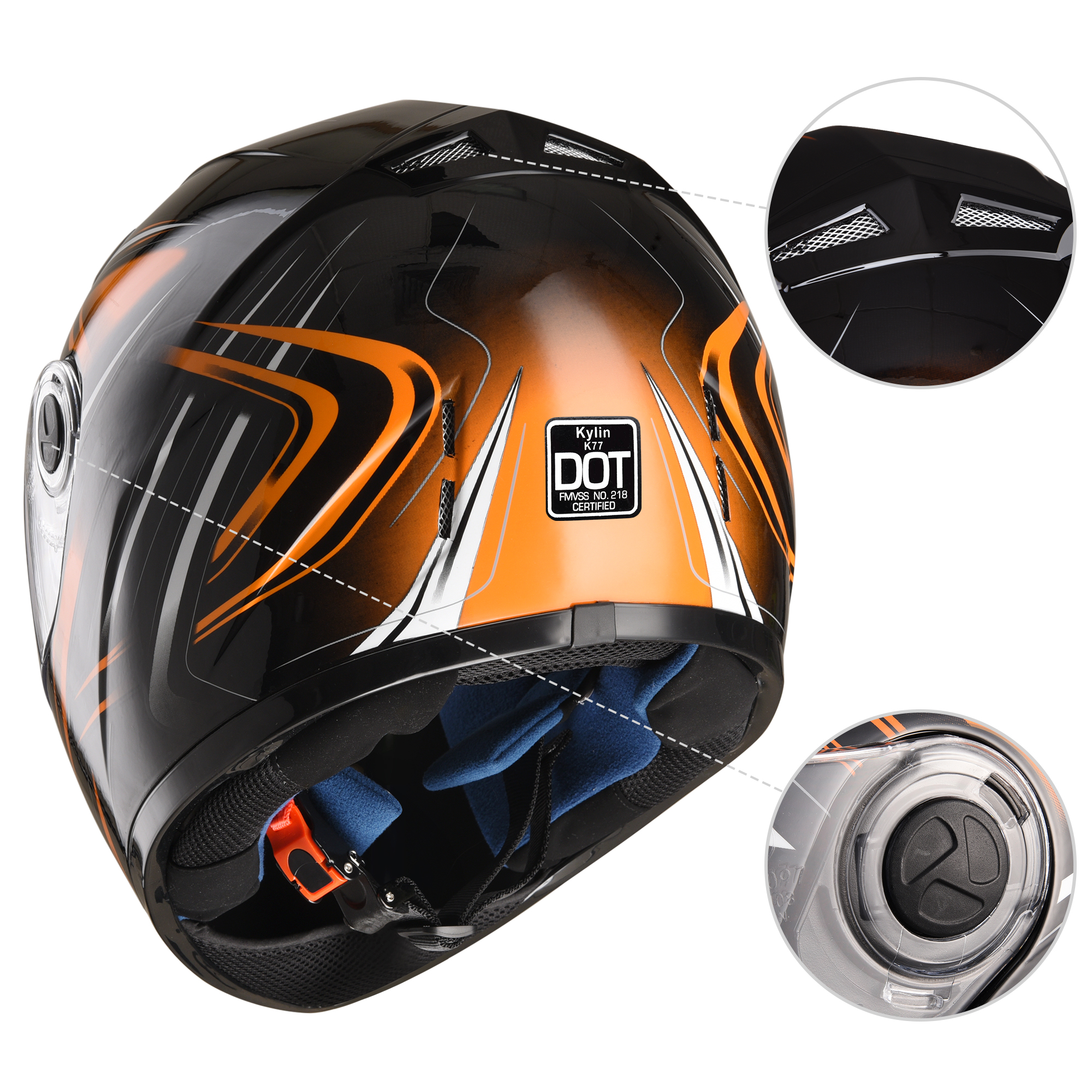 miniature 76 - AHR K12 Full Face Motorcycle Helmet DOT Air Vents Clear Visor Racing S M L XL