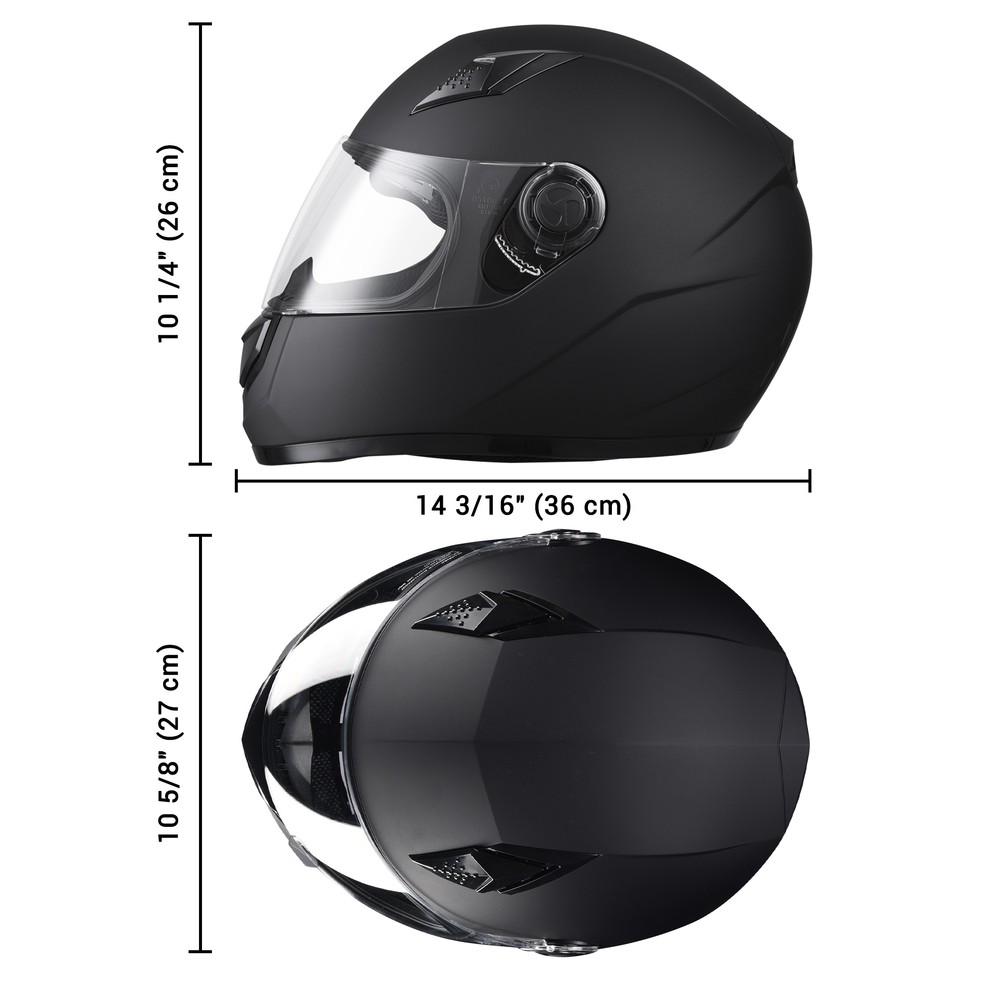 miniature 70 - AHR K12 Full Face Motorcycle Helmet DOT Air Vents Clear Visor Racing S M L XL