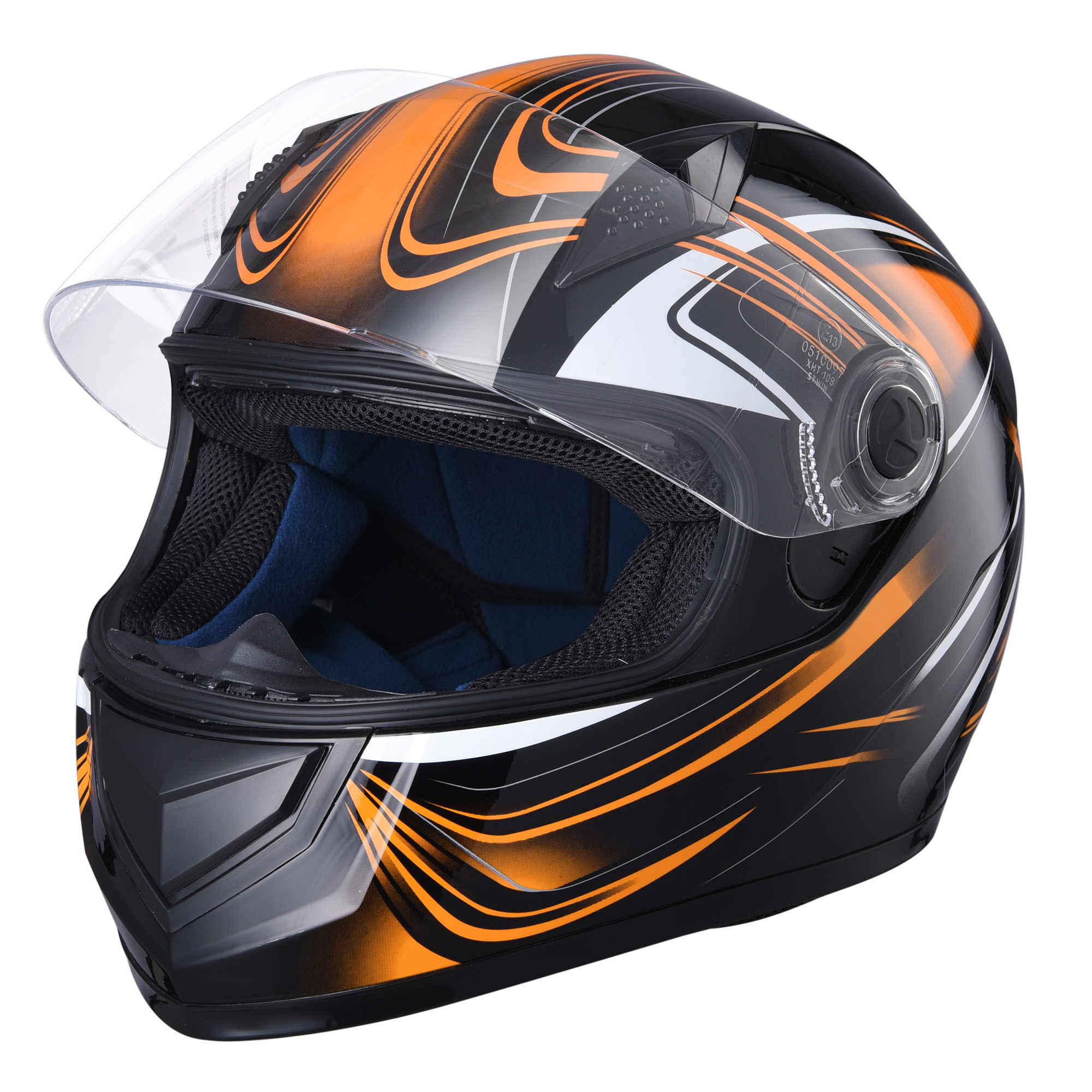miniature 110 - AHR K12 Full Face Motorcycle Helmet DOT Air Vents Clear Visor Racing S M L XL