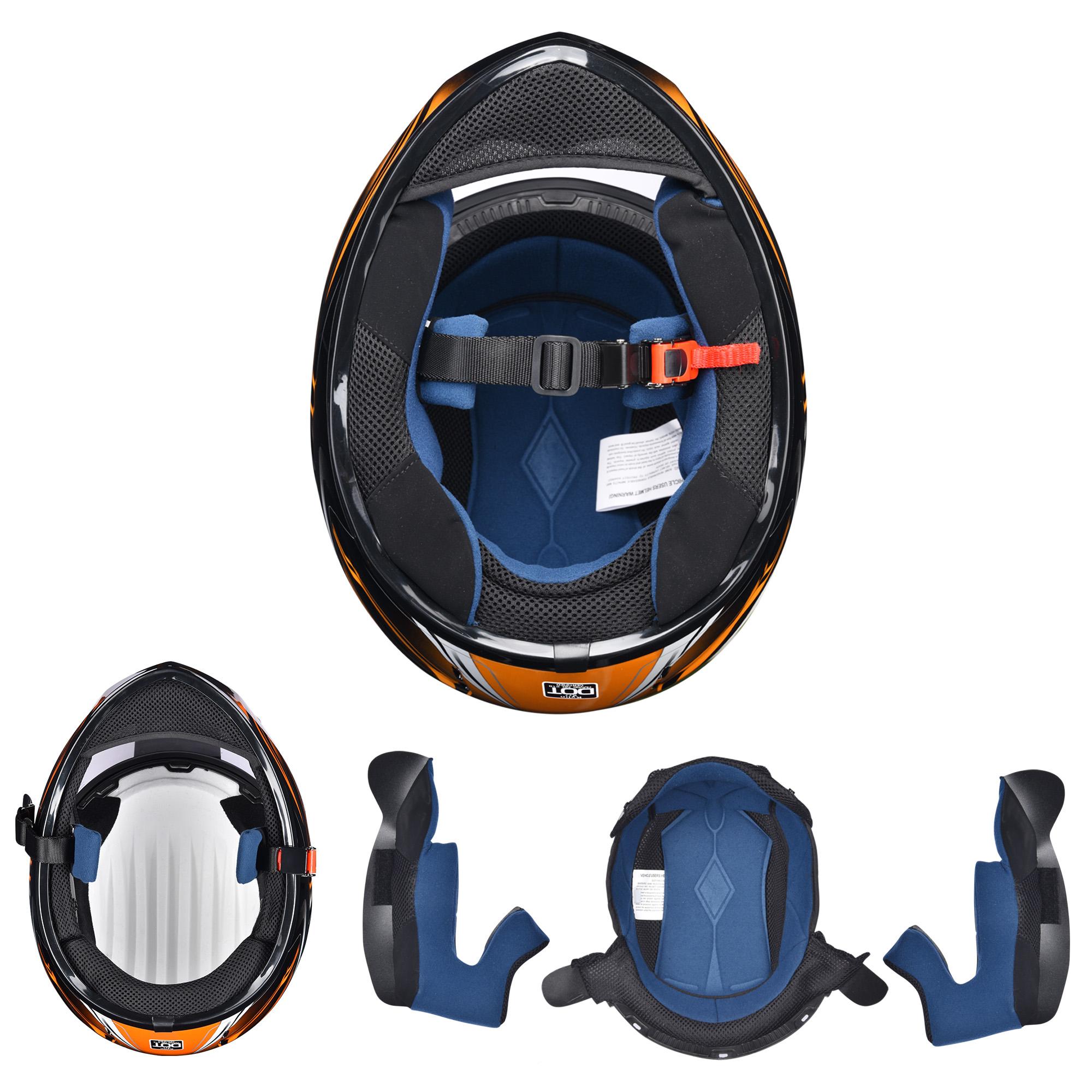 miniature 117 - AHR K12 Full Face Motorcycle Helmet DOT Air Vents Clear Visor Racing S M L XL