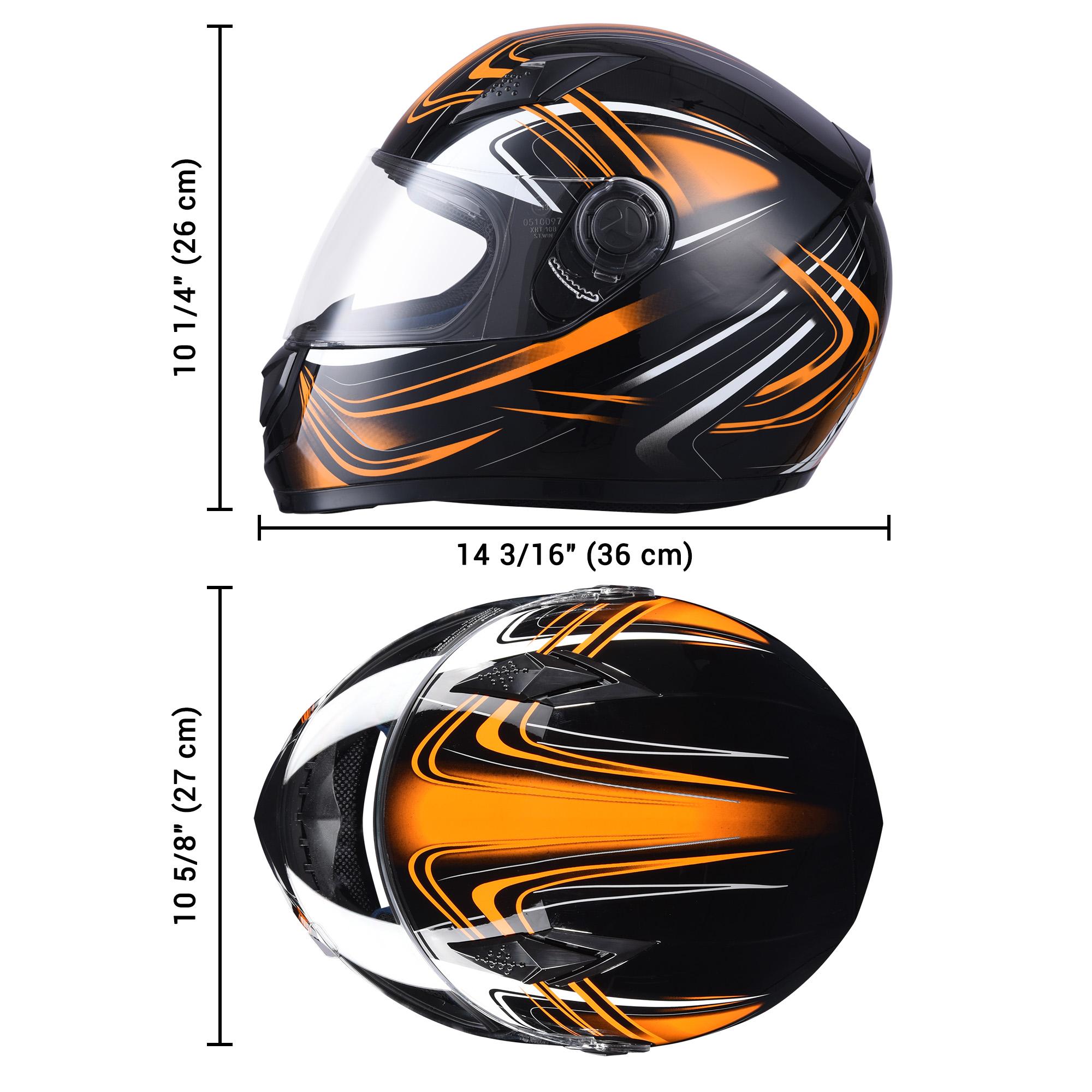 miniature 118 - AHR K12 Full Face Motorcycle Helmet DOT Air Vents Clear Visor Racing S M L XL