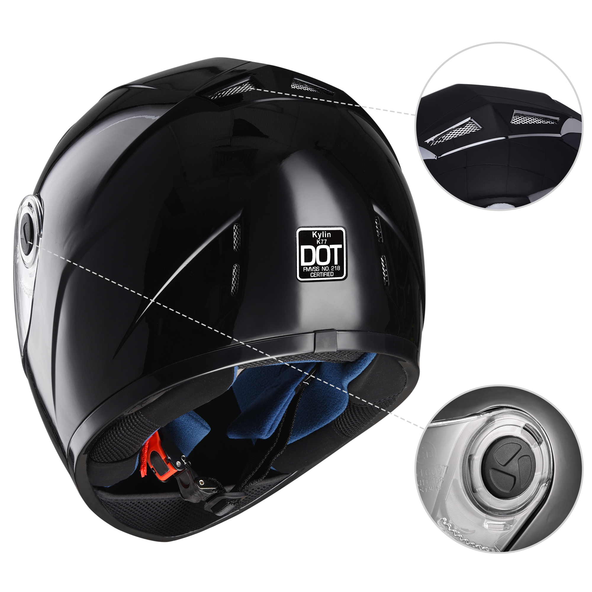 miniature 17 - AHR K12 Full Face Motorcycle Helmet DOT Air Vents Clear Visor Racing S M L XL