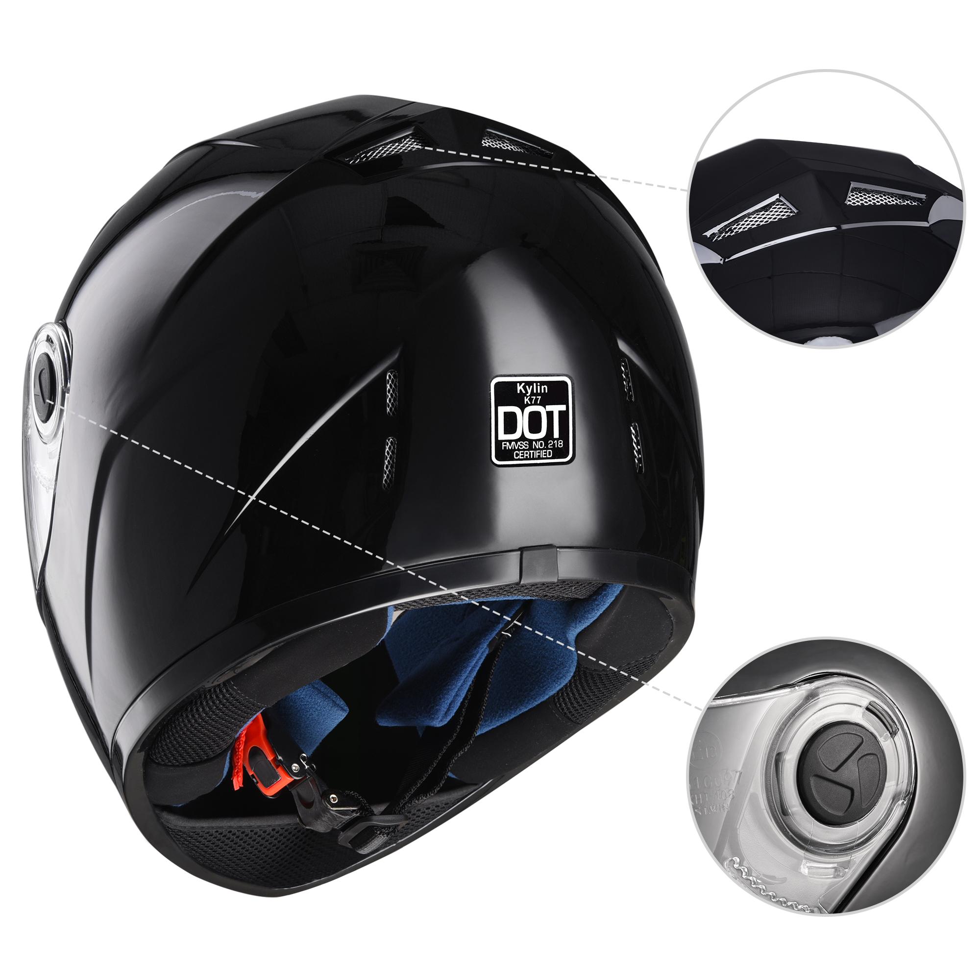 miniature 124 - AHR K12 Full Face Motorcycle Helmet DOT Air Vents Clear Visor Racing S M L XL