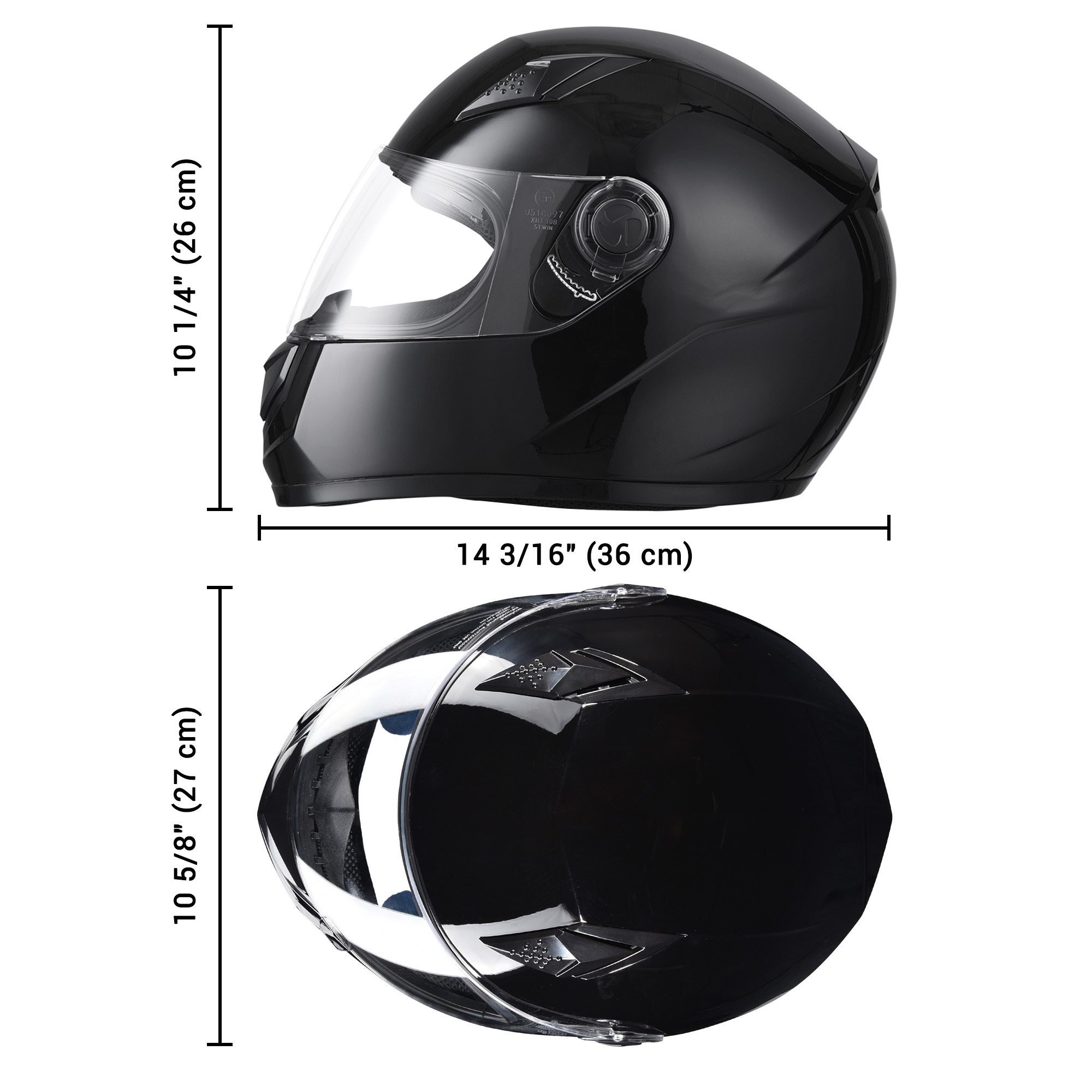 miniature 130 - AHR K12 Full Face Motorcycle Helmet DOT Air Vents Clear Visor Racing S M L XL