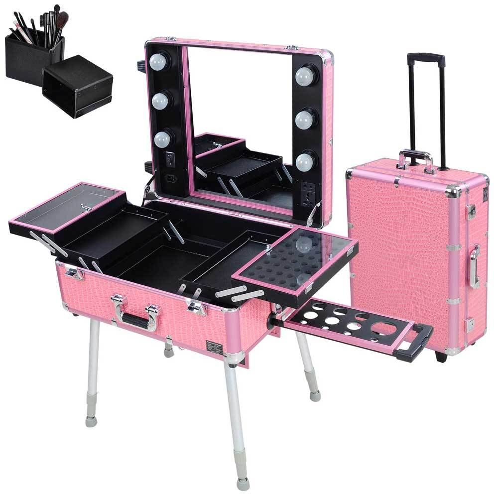 Rolling Studio Makeup Train Case Cosmetic WLight Leg Mirror - Aluminum trolley case pro rolling makeup cosmetic organizer