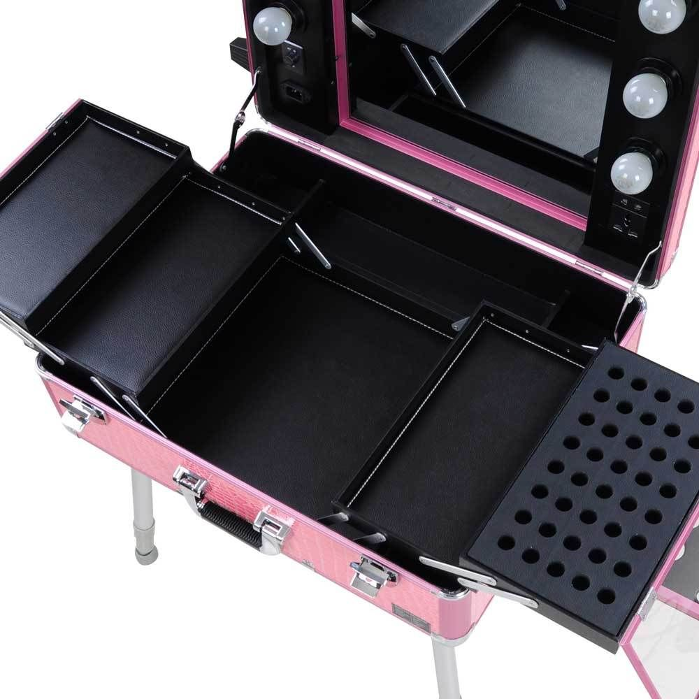 Rolling Studio Makeup Train Case Cosmetic W Light Leg