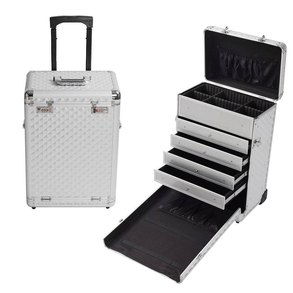 Rolling Aluminum Makeup Case Box W Drawers Code Lock