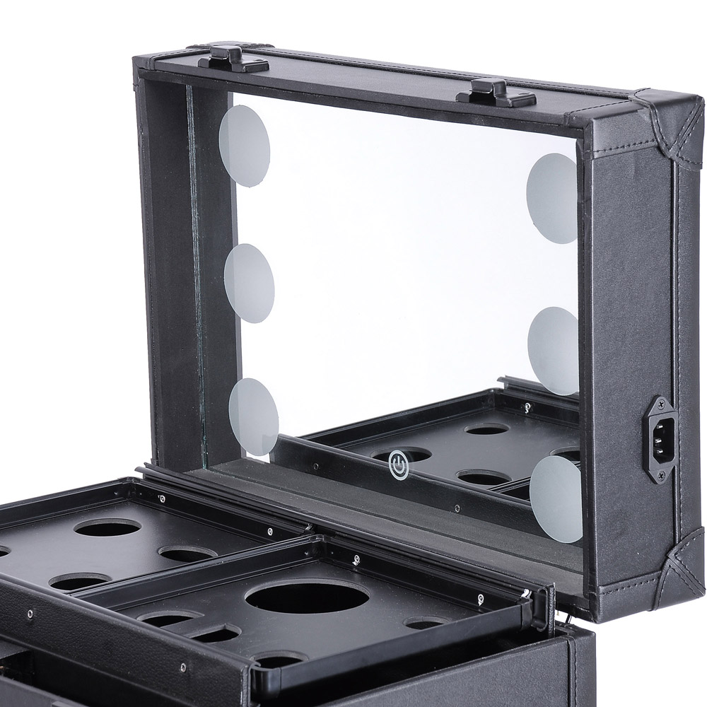 Rolling Studio Makeup Multifunction Case W Lights Mirror
