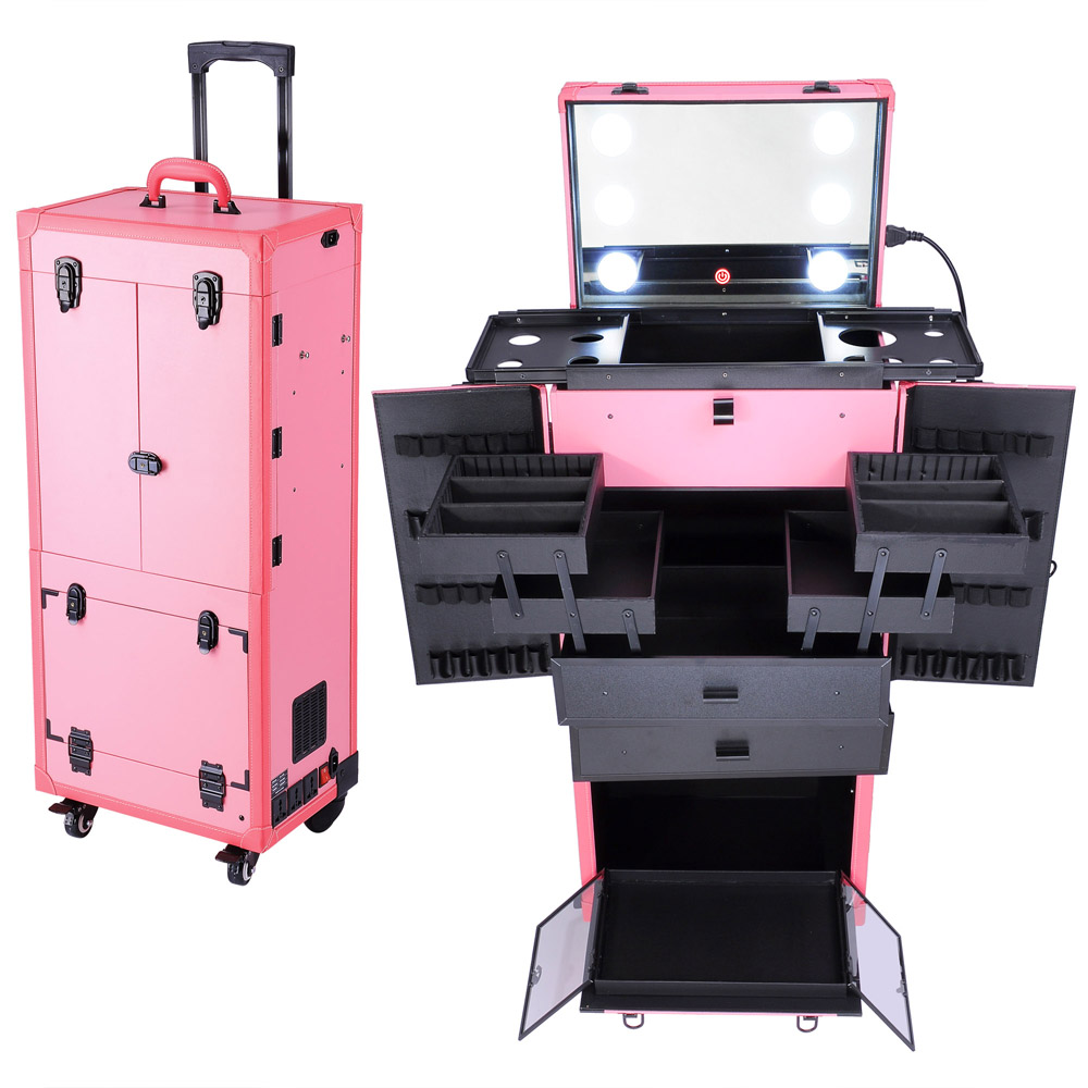 Rolling Studio Makeup Multifunction Case WLights Mirror Cosmetic - Aluminum trolley case pro rolling makeup cosmetic organizer