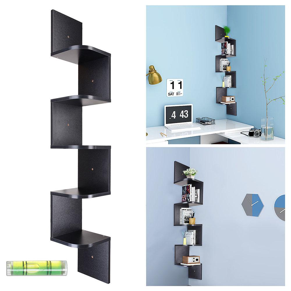 5 tier wall mount corner shelf storage unit shelves wood. Black Bedroom Furniture Sets. Home Design Ideas