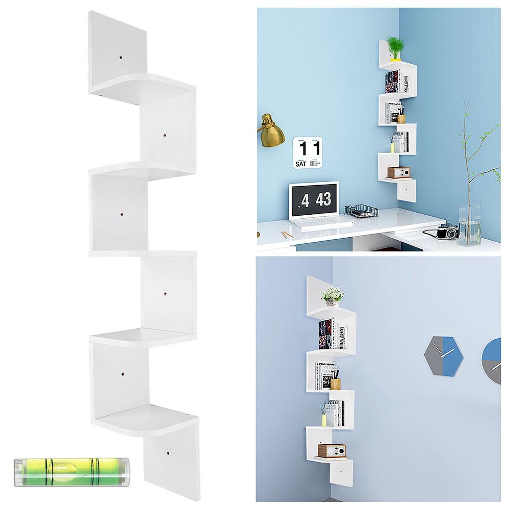 5 tier wall mount corner shelf storage unit shelves wood hom