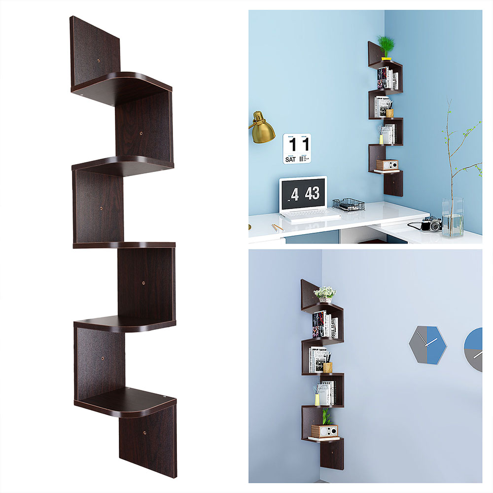 5 tier wall mount corner shelf storage unit shelves wood home display colour opt ebay. Black Bedroom Furniture Sets. Home Design Ideas