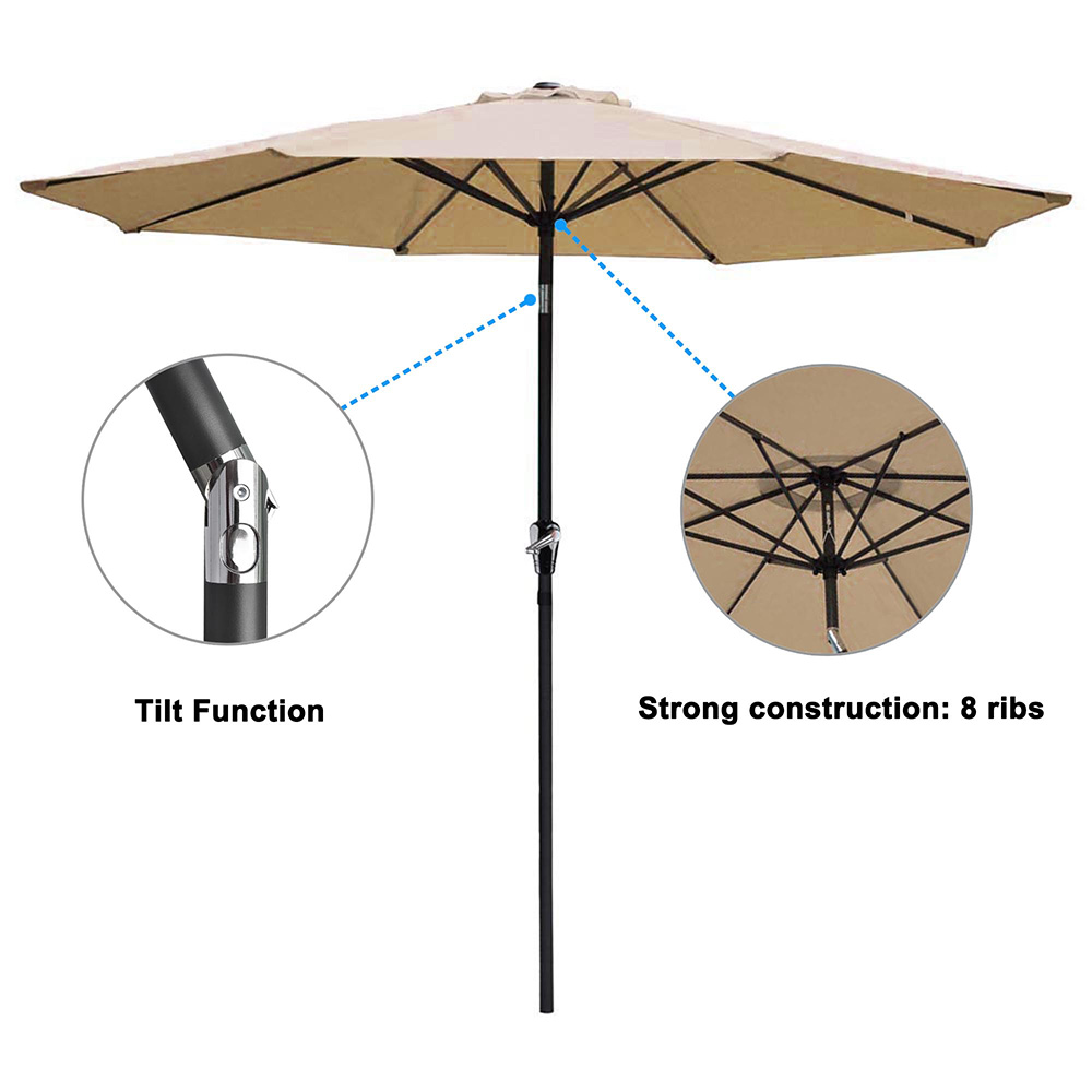 2-5m-2-7m-3m-Round-Square-Garden-Parasol-Shade-Outdoor-Patio-Umbrella-Crank-Tilt thumbnail 96
