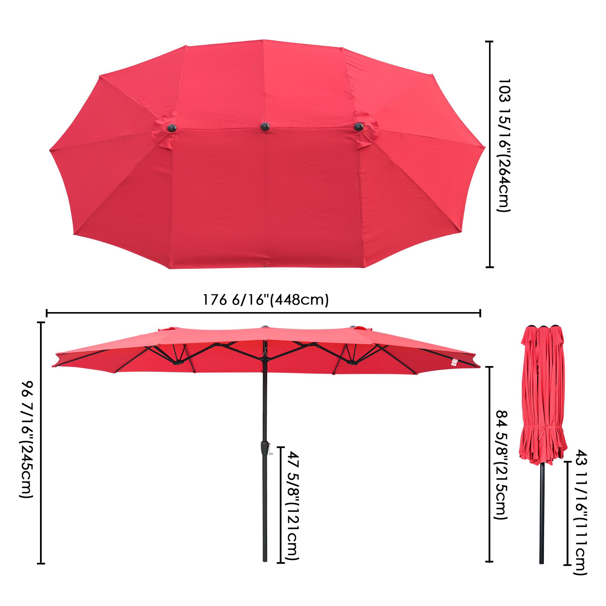 thumbnail 42 - 15ft Patio Twin Umbrella Double-sided Market Crank Outdoor Garden Parasol Shade