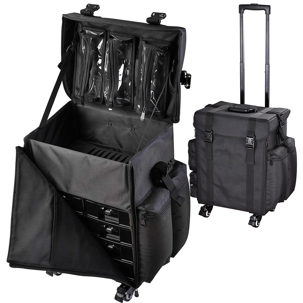 Pu Oxford Rolling Makeup Train Case Travel Beauty Trolley