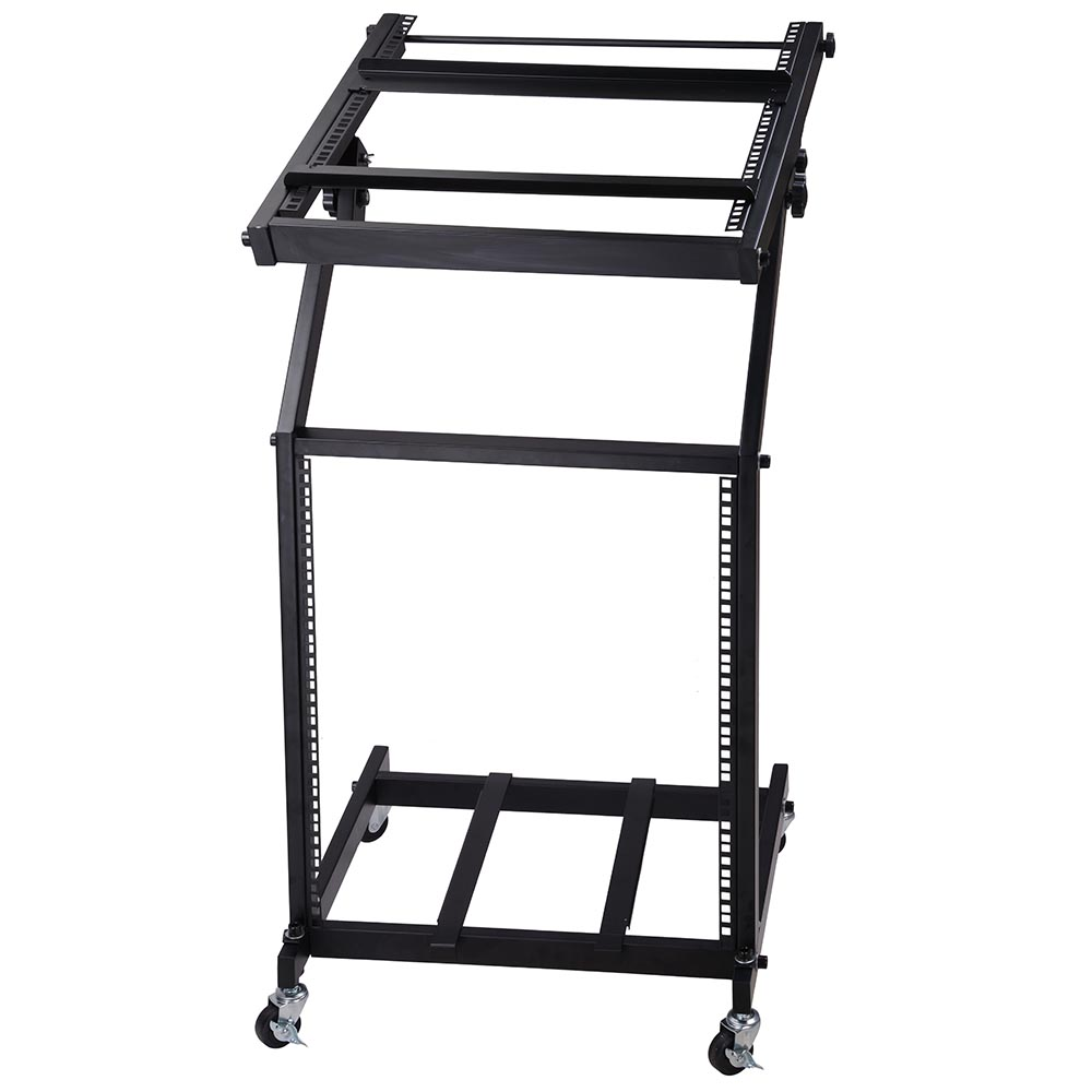 19 dj rack mount mixer stand 12u studio mobile cart stage for Stand pub