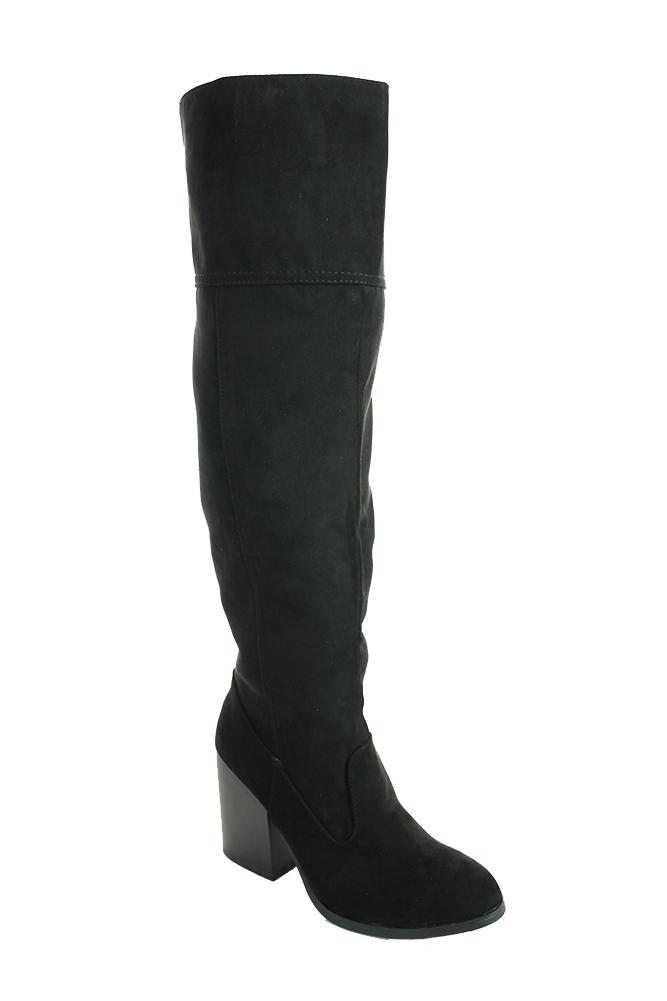 Qupid Womens Faux Suede Knee High Chunky Heel Side Slit Zipper Boot Black 6.5