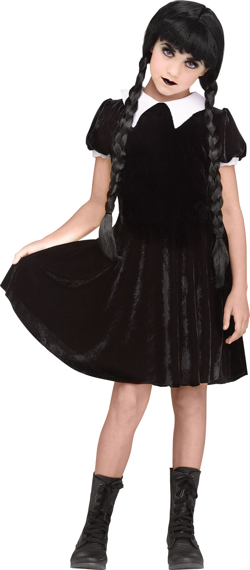 Details about Gothic Girl Child Size Wednesday Addams The Addams Family  Halloween Costume